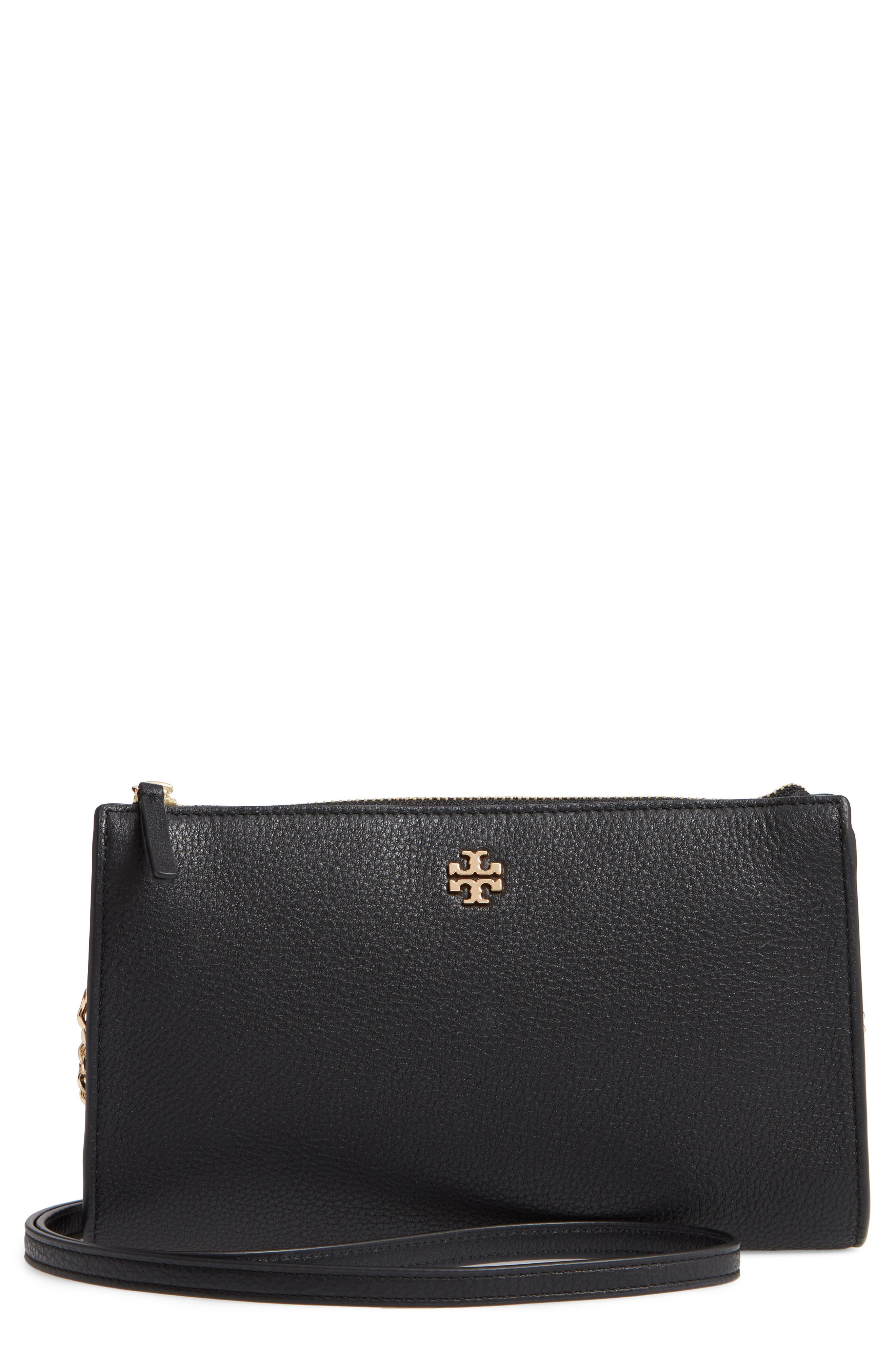 TORY BURCH Pebbled Leather Top Zip Crossbody Bag, Main, color, BLACK
