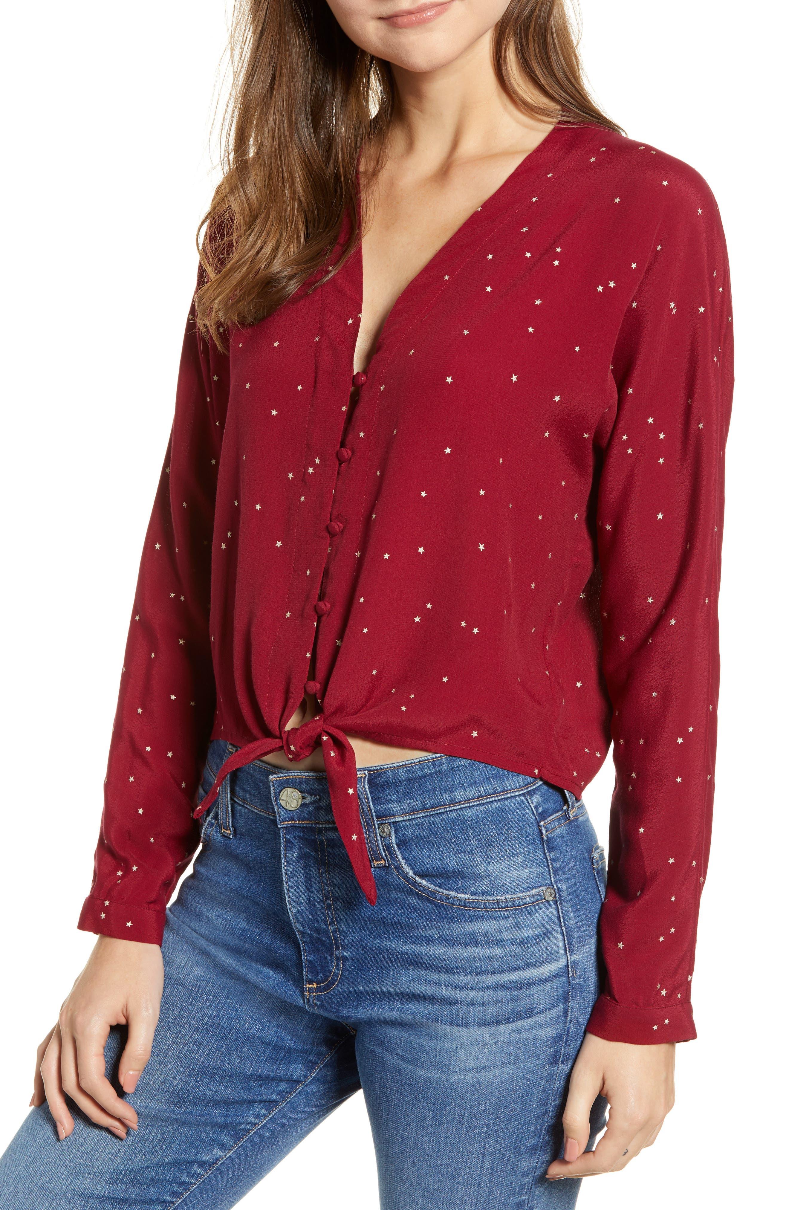 Sloane Blouse,                         Main,                         color, ROUGE GRADIENT STARS