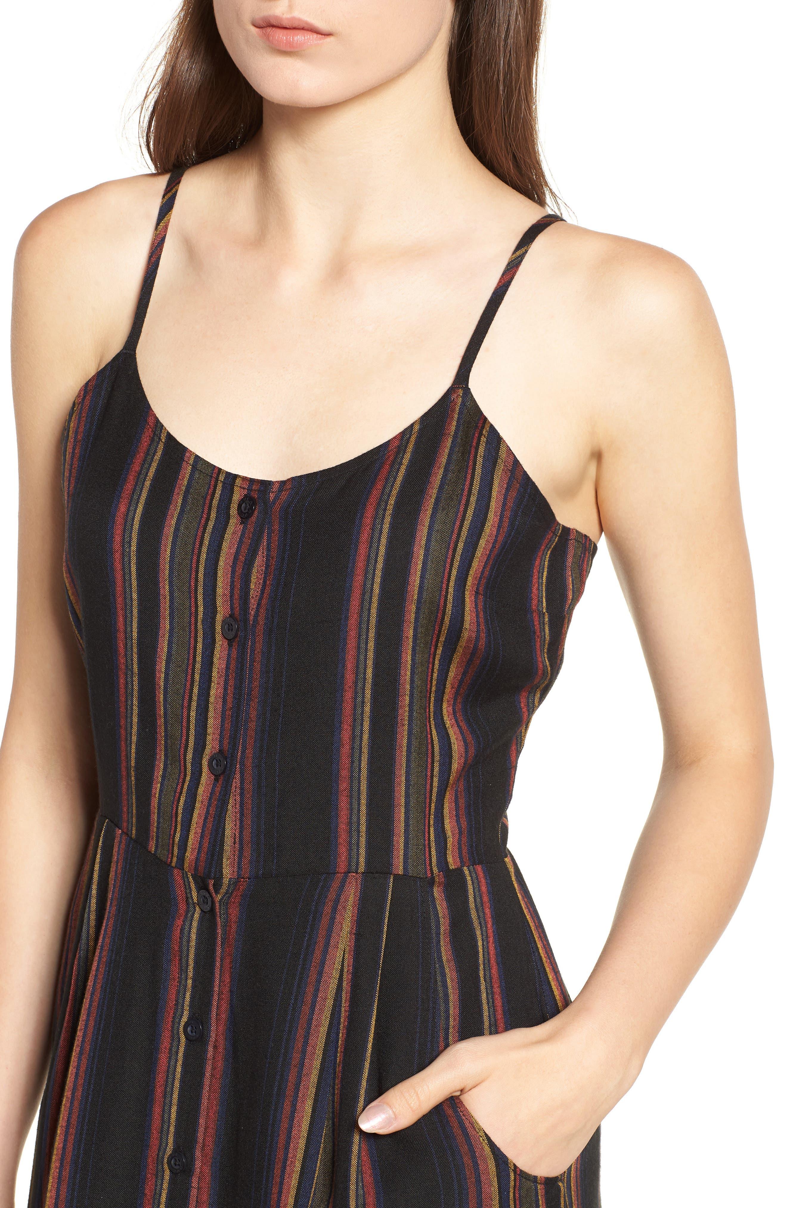 Medway Stripe Midi Dress,                             Alternate thumbnail 4, color,                             001