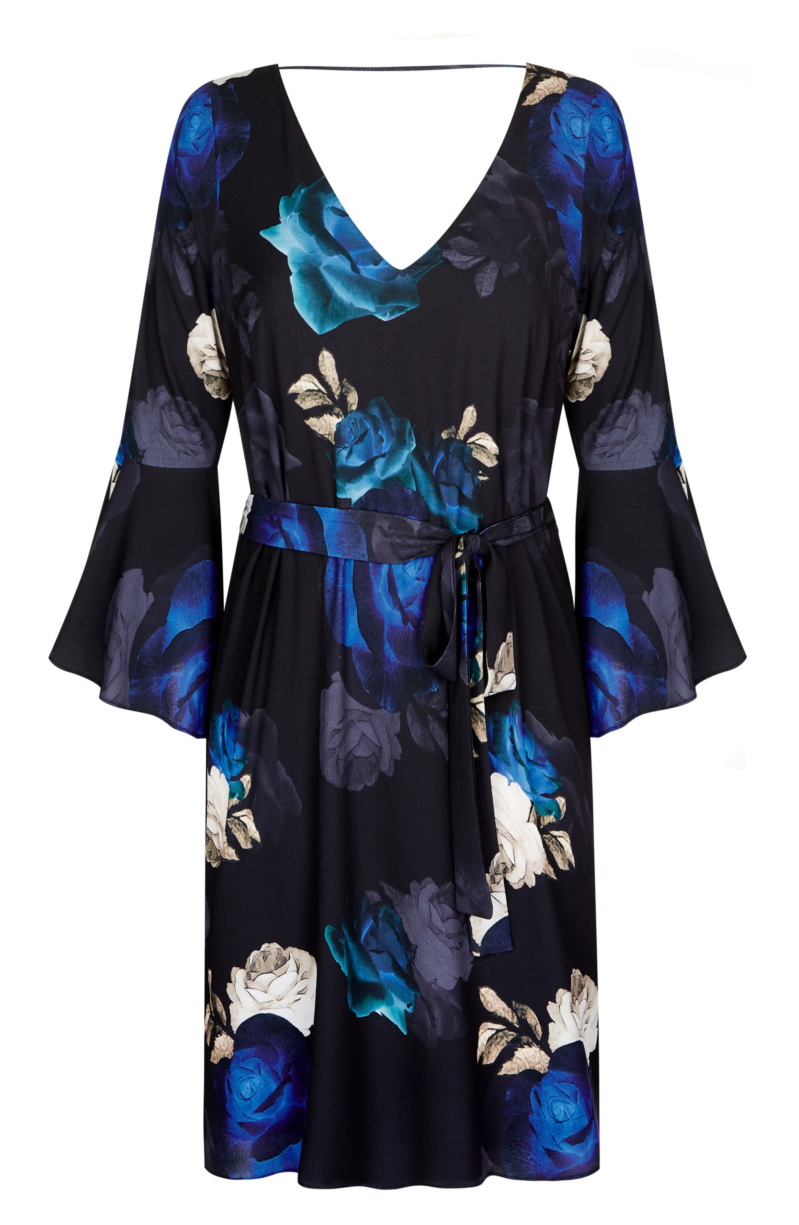 Electric Bell Sleeve Floral Dress,                             Alternate thumbnail 3, color,                             ELECTRIC ROSE
