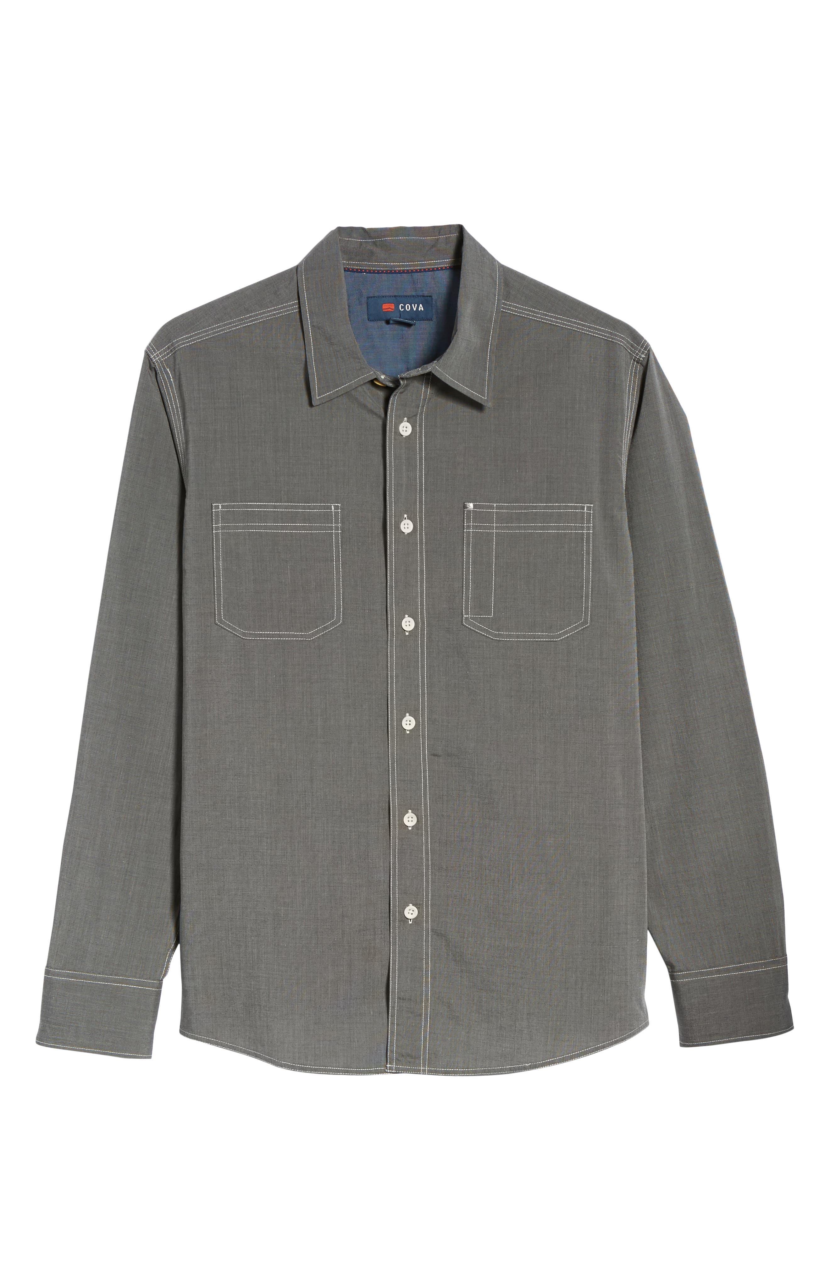 Seaside Regular Fit Sport Shirt,                             Alternate thumbnail 6, color,                             COAL