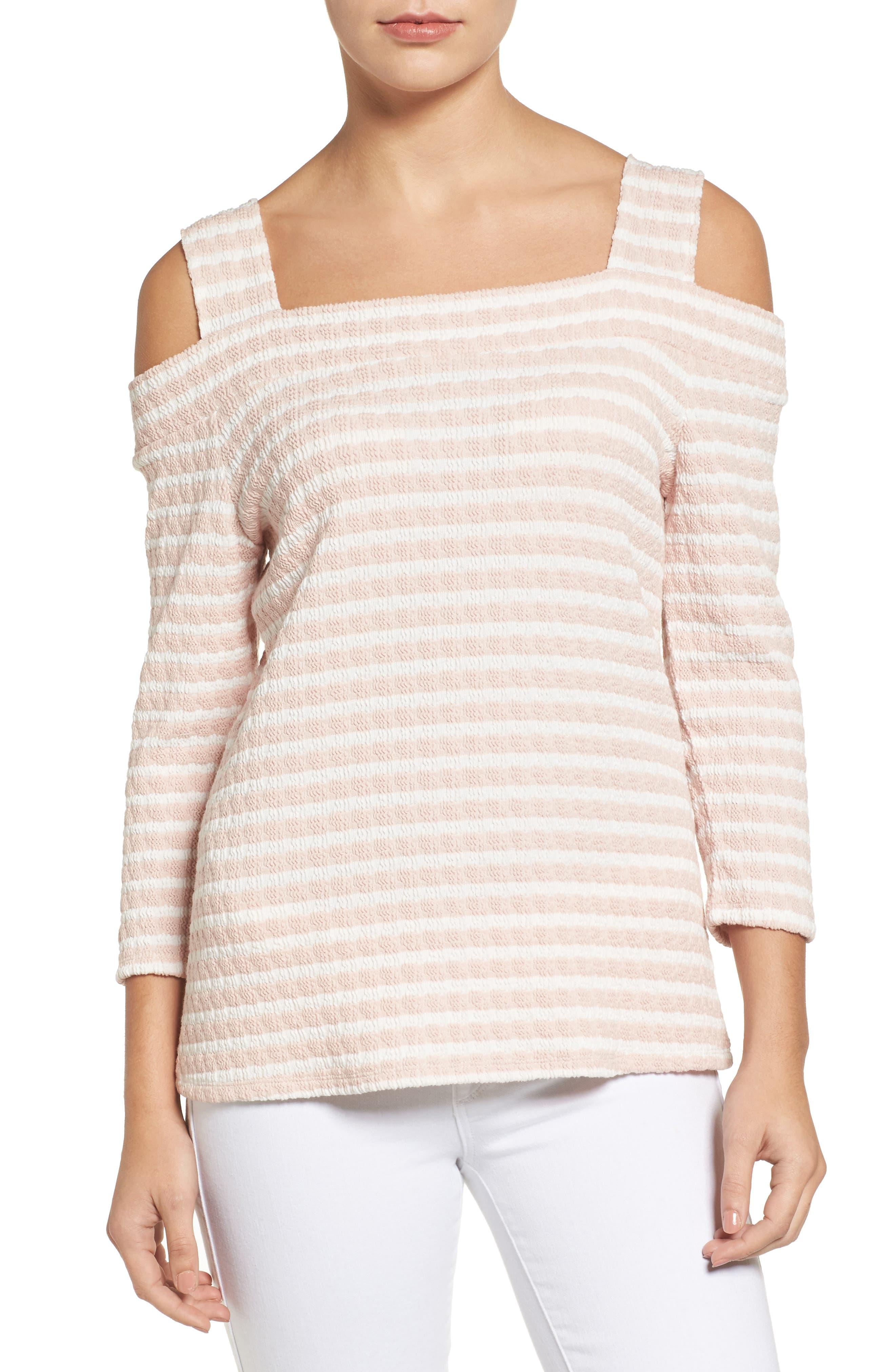 Fridi Texture Stripe Cold Shoulder Top,                             Main thumbnail 1, color,                             PINK/ WHITE
