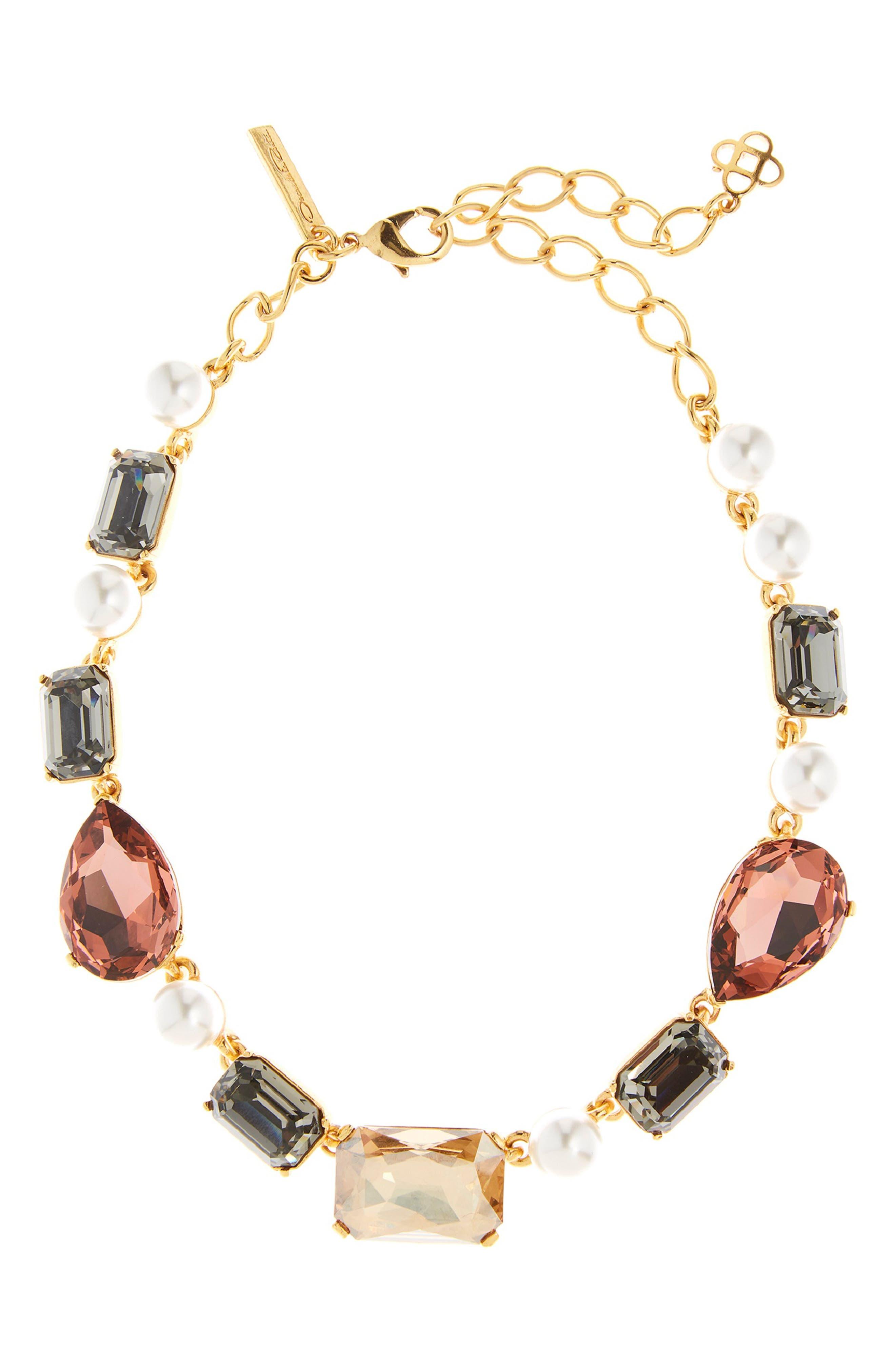 Bold Crystal Necklace,                             Main thumbnail 1, color,                             CLAY