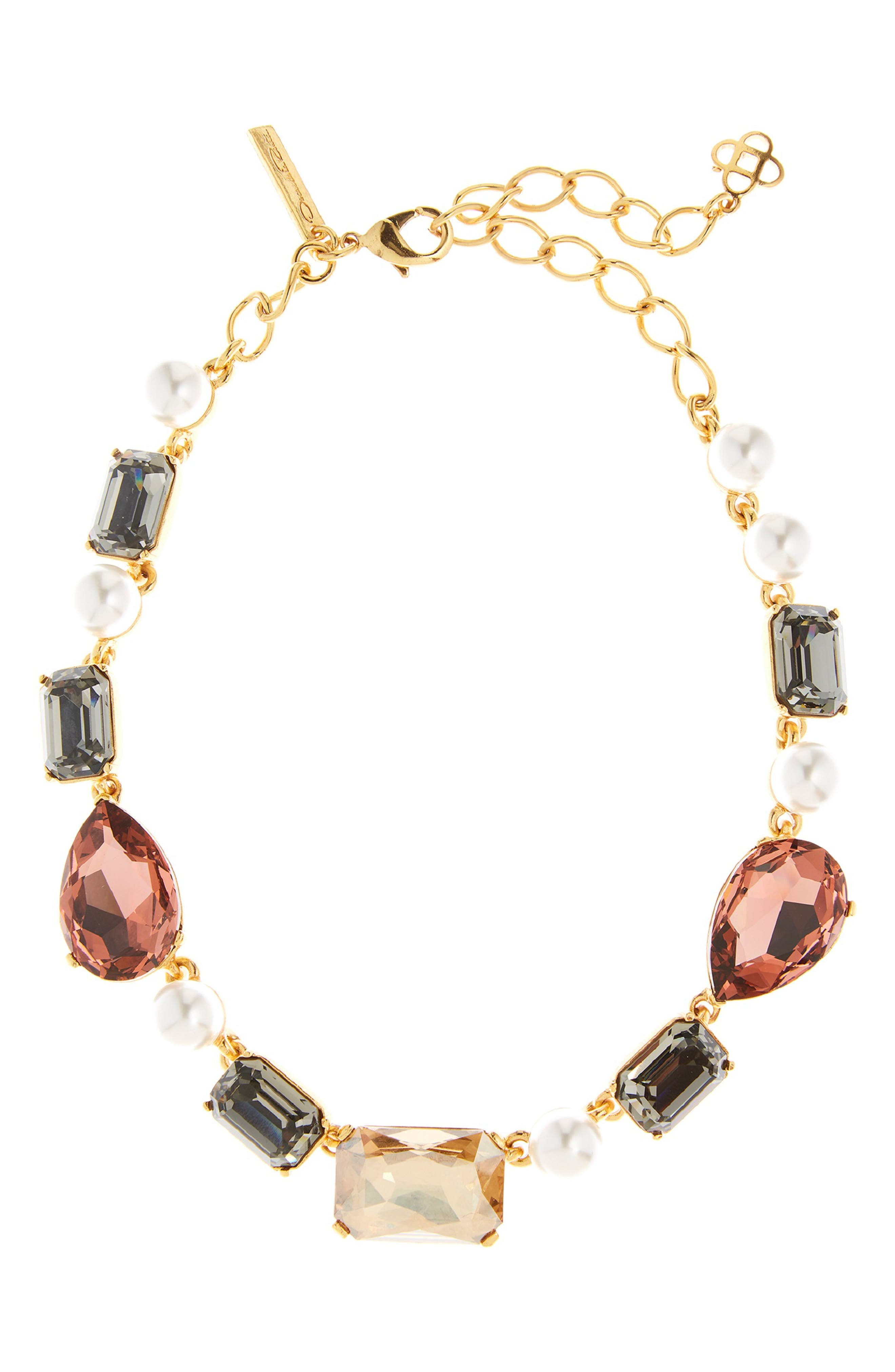 Bold Crystal Necklace,                         Main,                         color, CLAY