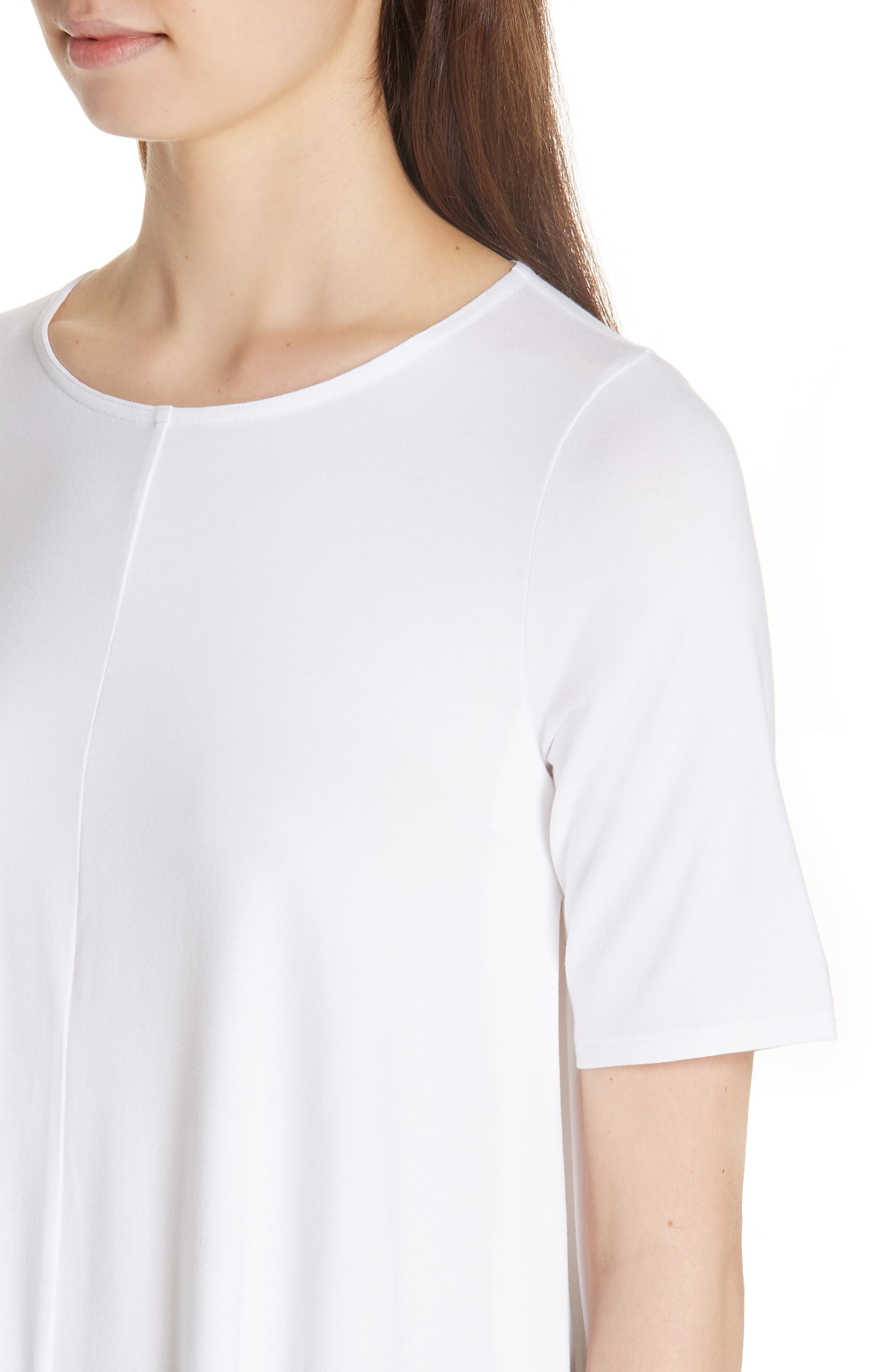 Jewel Neck Elbow Sleeve Tunic,                             Alternate thumbnail 4, color,                             WHITE