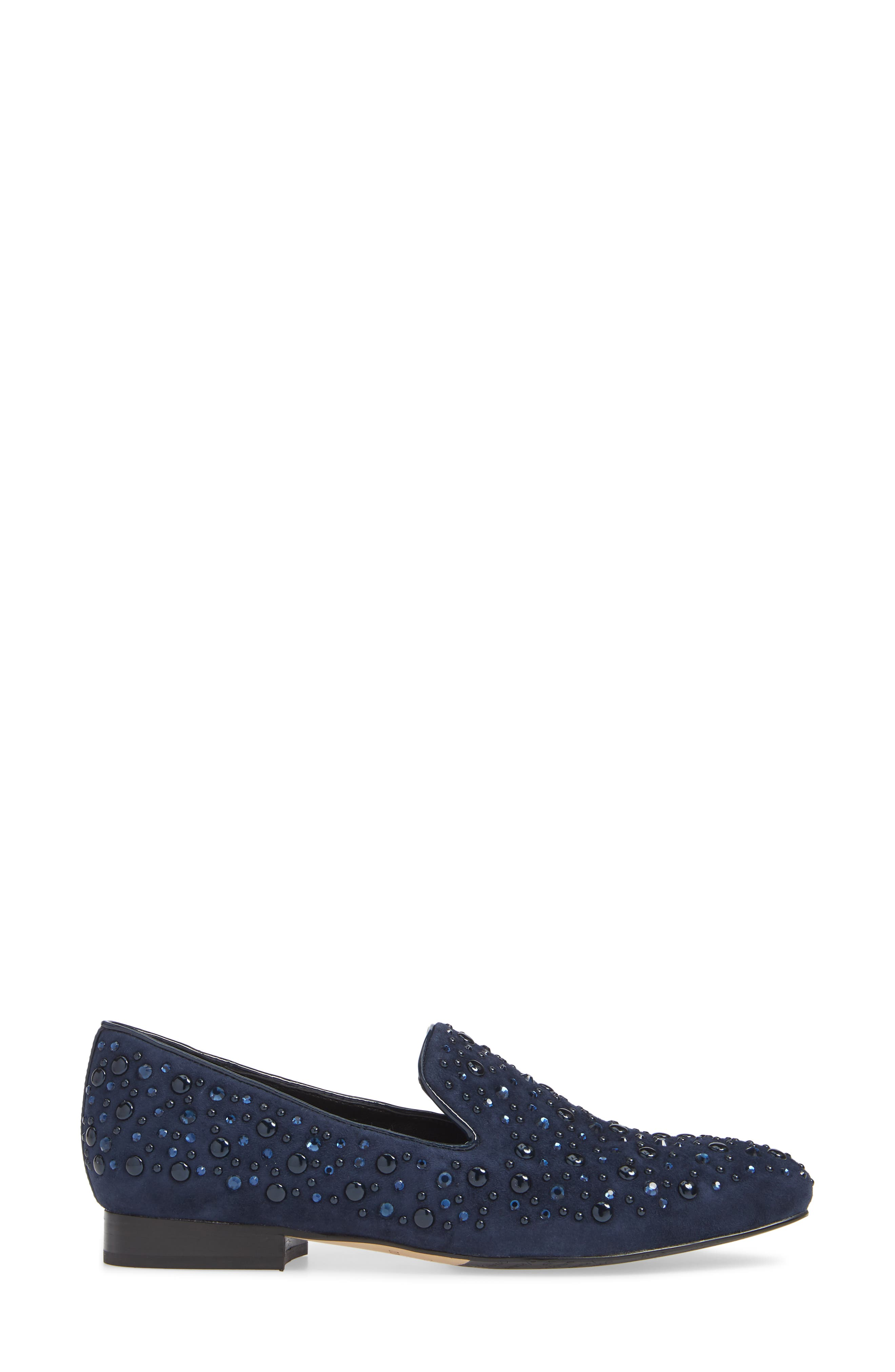 Lynn Loafer Flat,                             Alternate thumbnail 3, color,                             NAVY SUEDE
