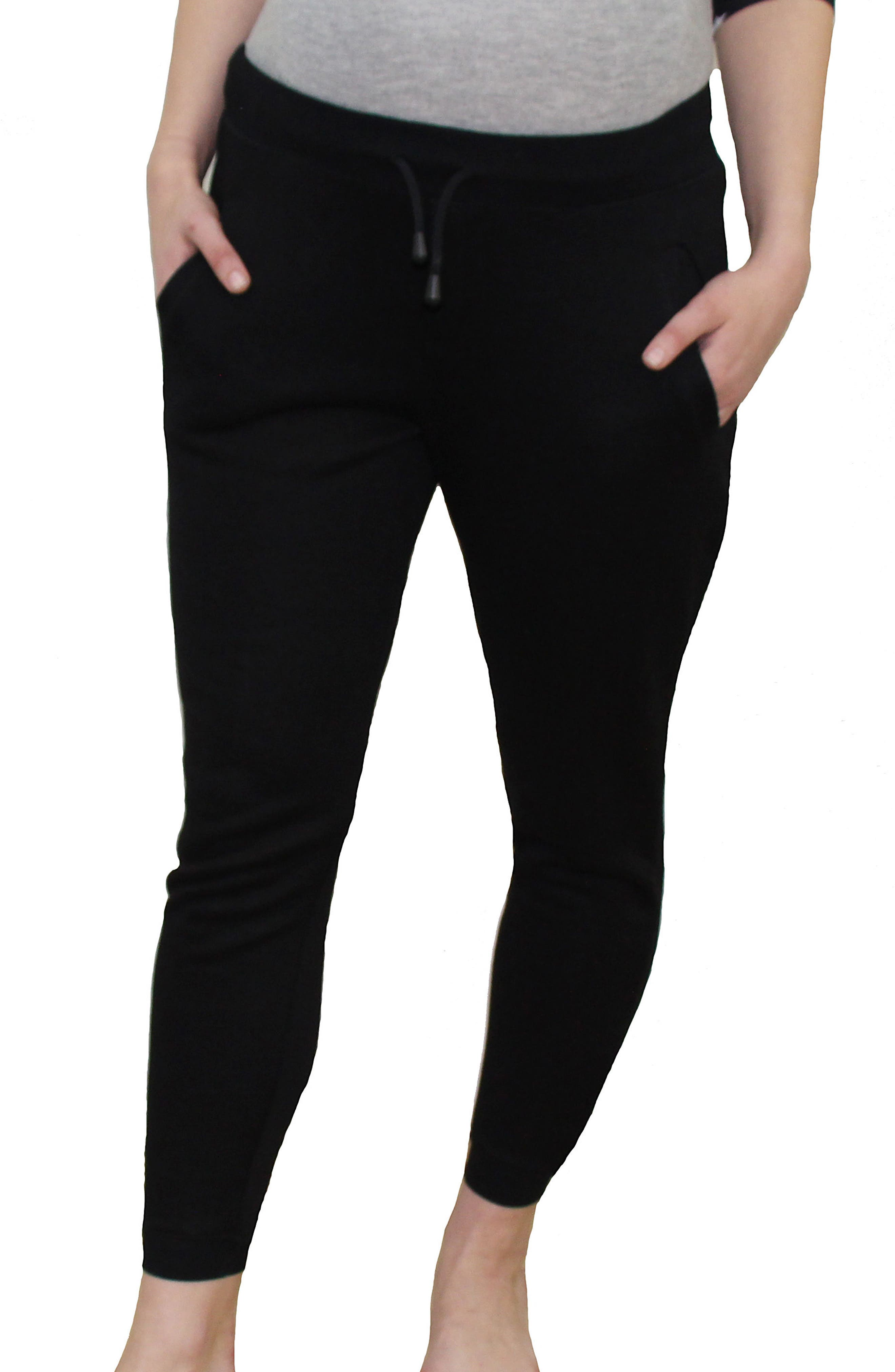 French Terry Maternity Jogger Pants,                         Main,                         color, BLACK