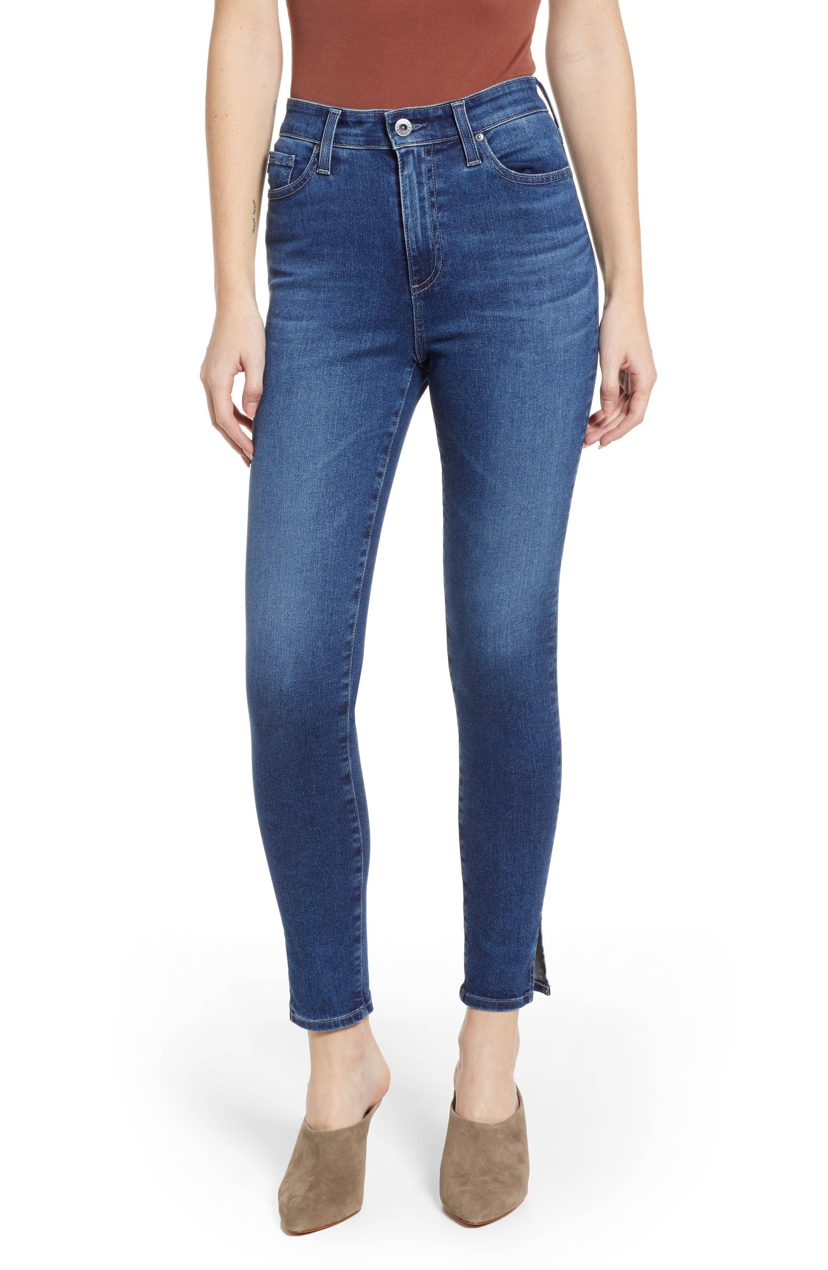 AG The Mila Super High Waist Ankle Skinny Jeans, Main, color, CRYSTAL CLARITY