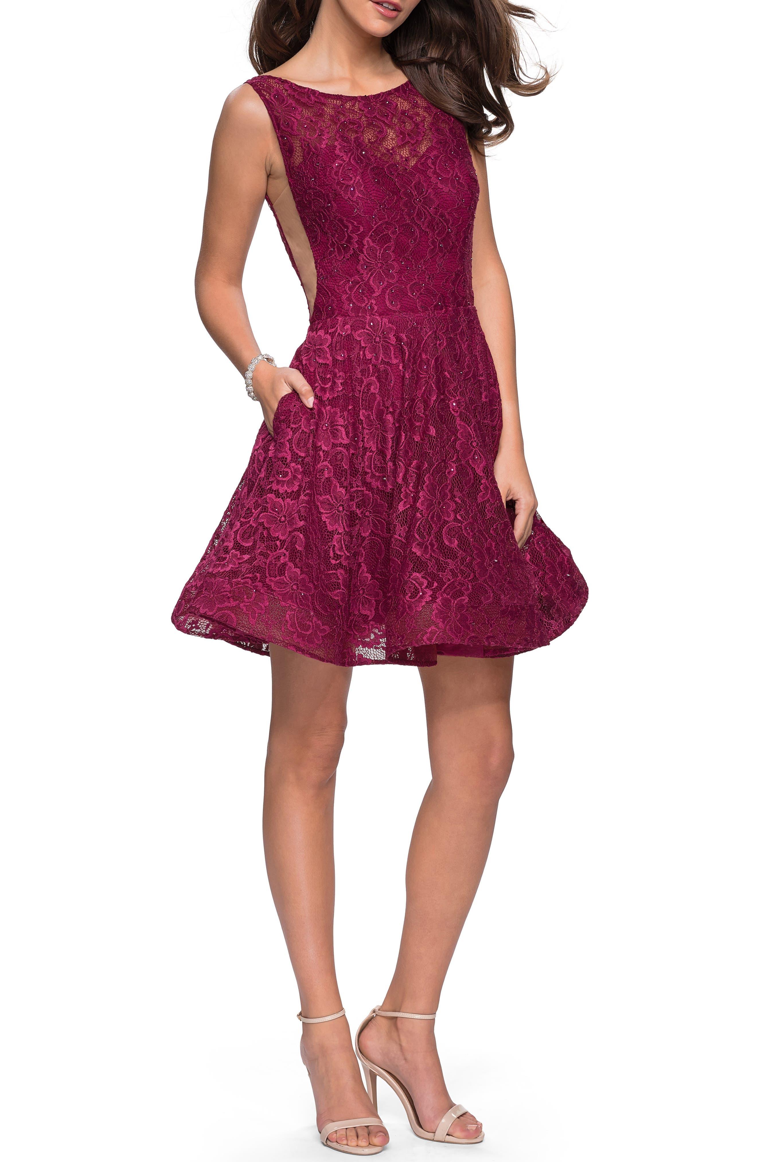 La Femme Lace Fit & Flare Party Dress, Burgundy