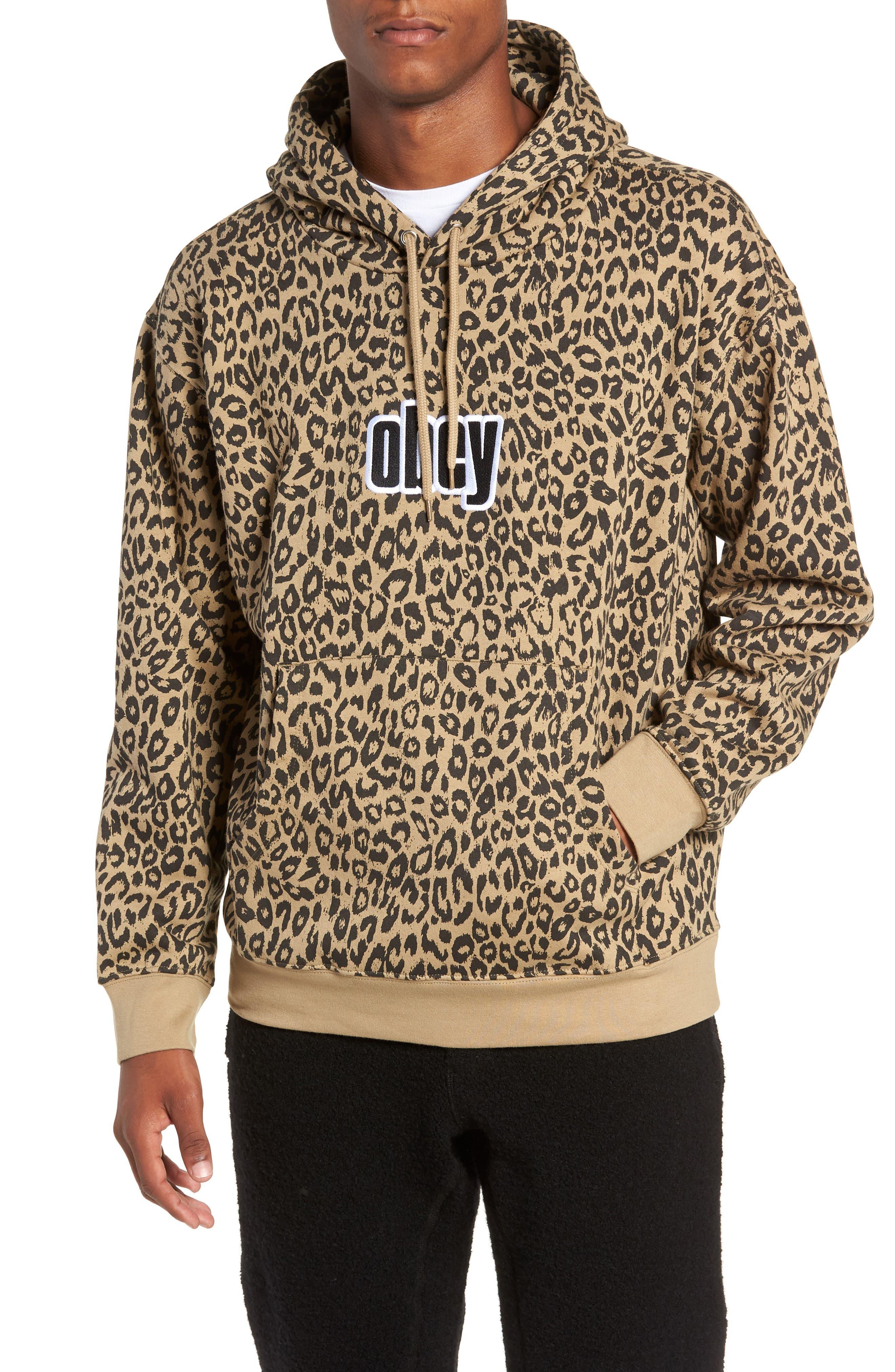 OBEY Gusto Hooded Sweatshirt in Khaki Leopard