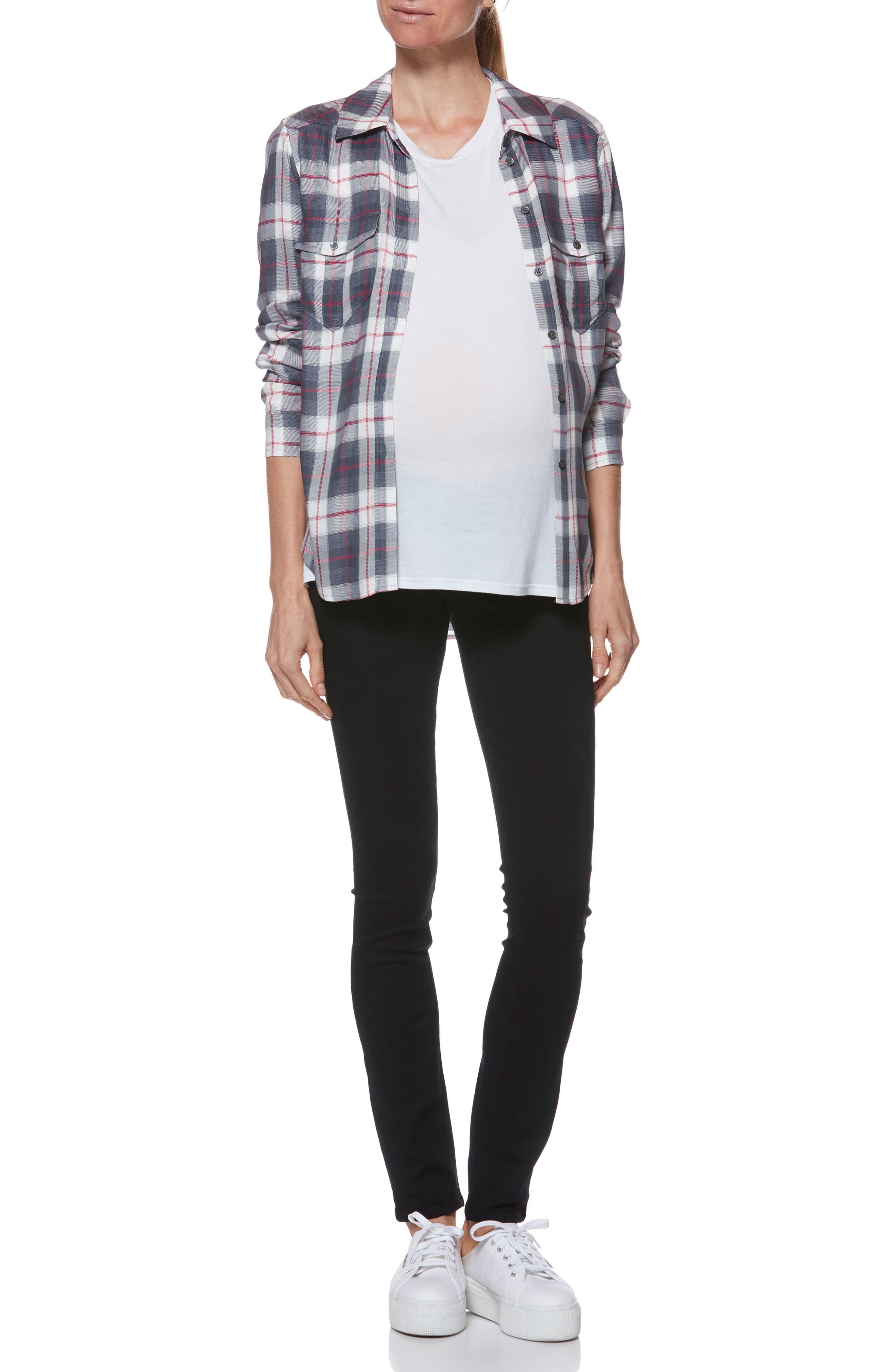 'Transcend - Verdugo Ultra Skinny Maternity Jeans,                             Alternate thumbnail 8, color,                             BLACK SHADOW