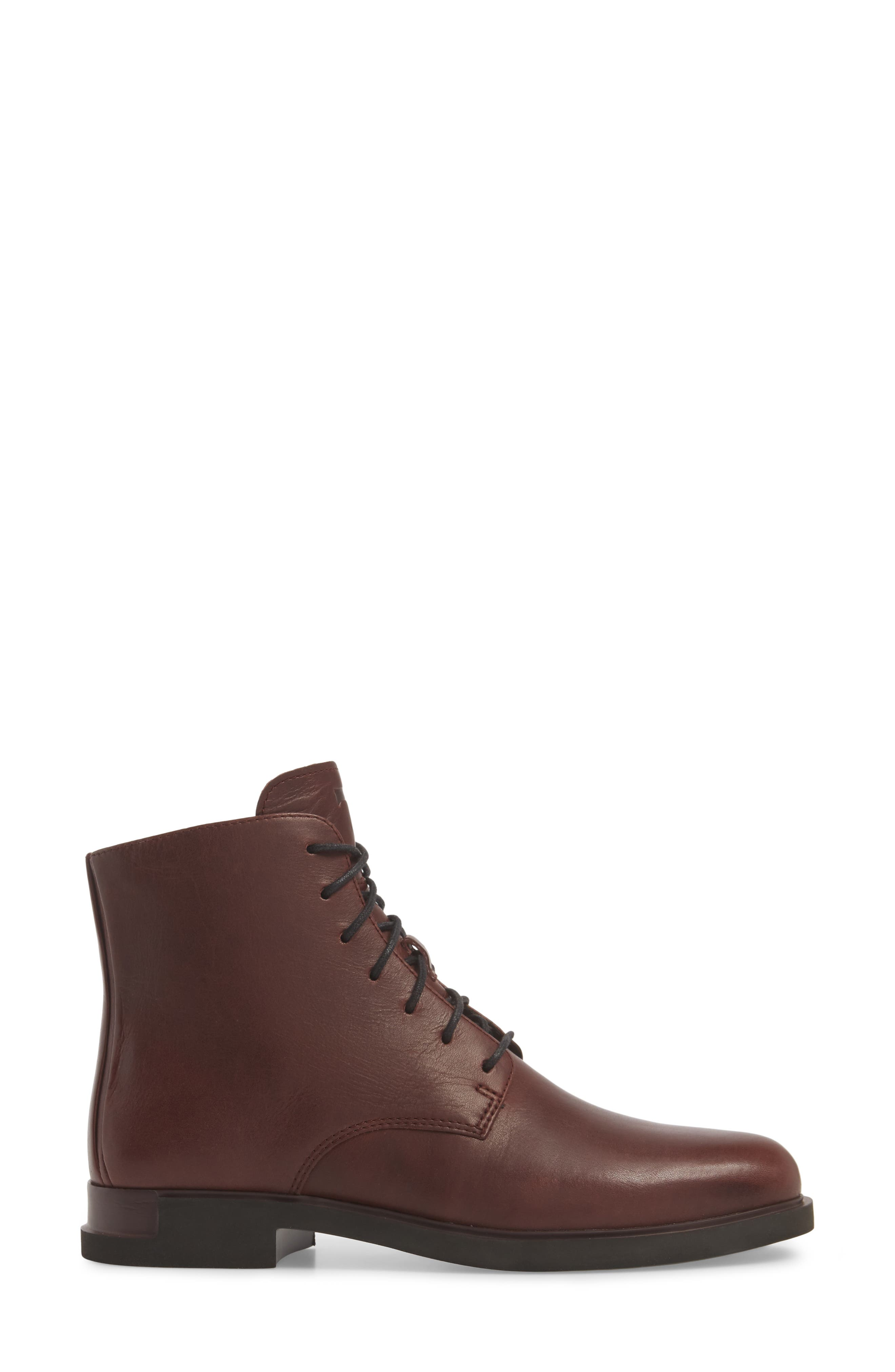 Helix Lace-Up Bootie,                             Alternate thumbnail 3, color,                             BURGUNDY LEATHER