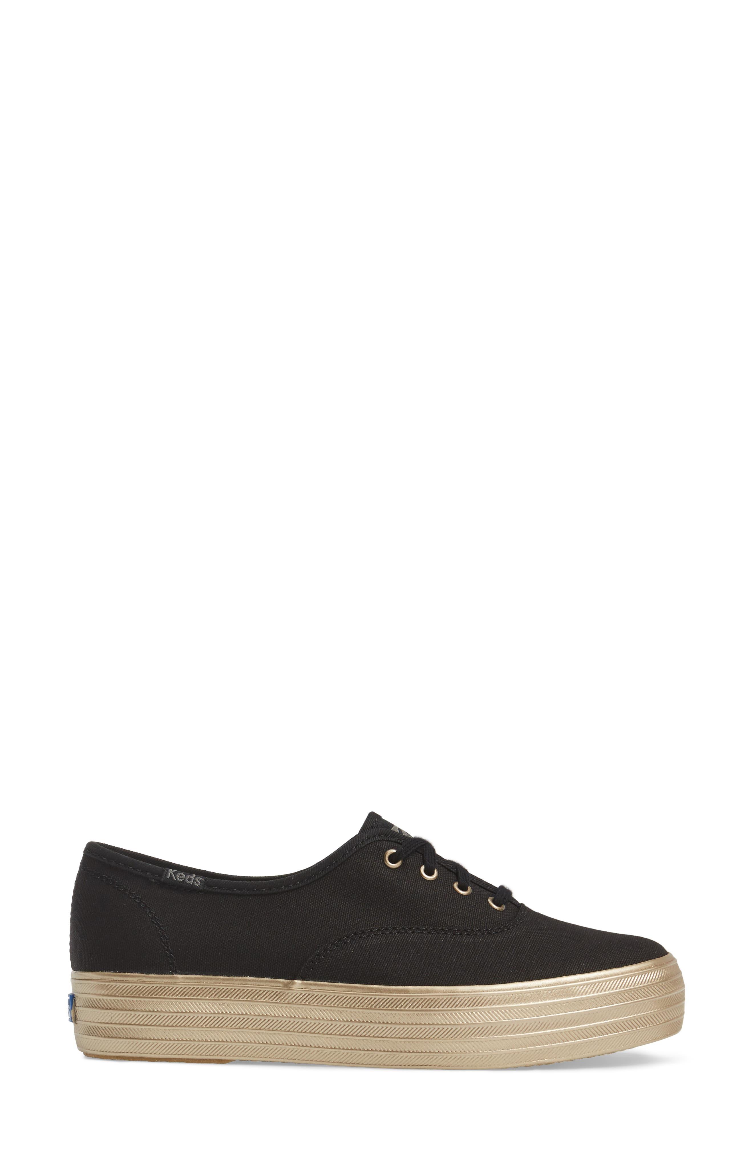 Triple Shimmer Platform Sneaker,                             Alternate thumbnail 3, color,                             002