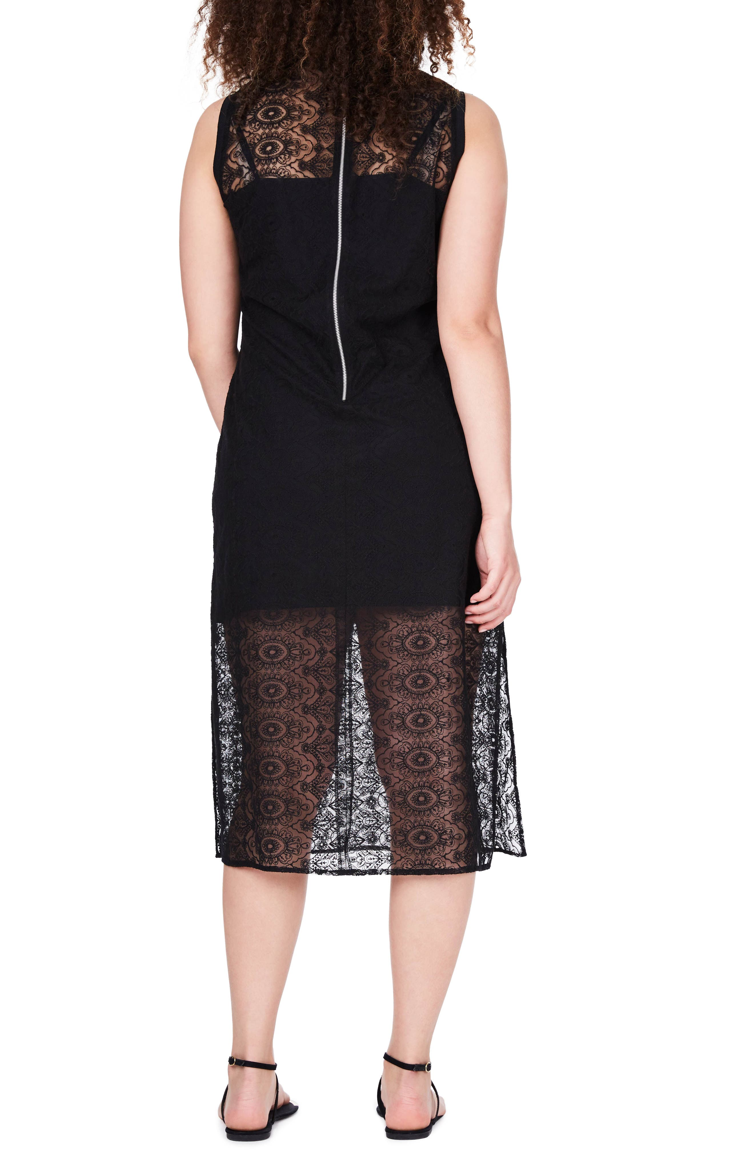 Embroidered Lace Tunic Dress,                             Alternate thumbnail 2, color,                             001