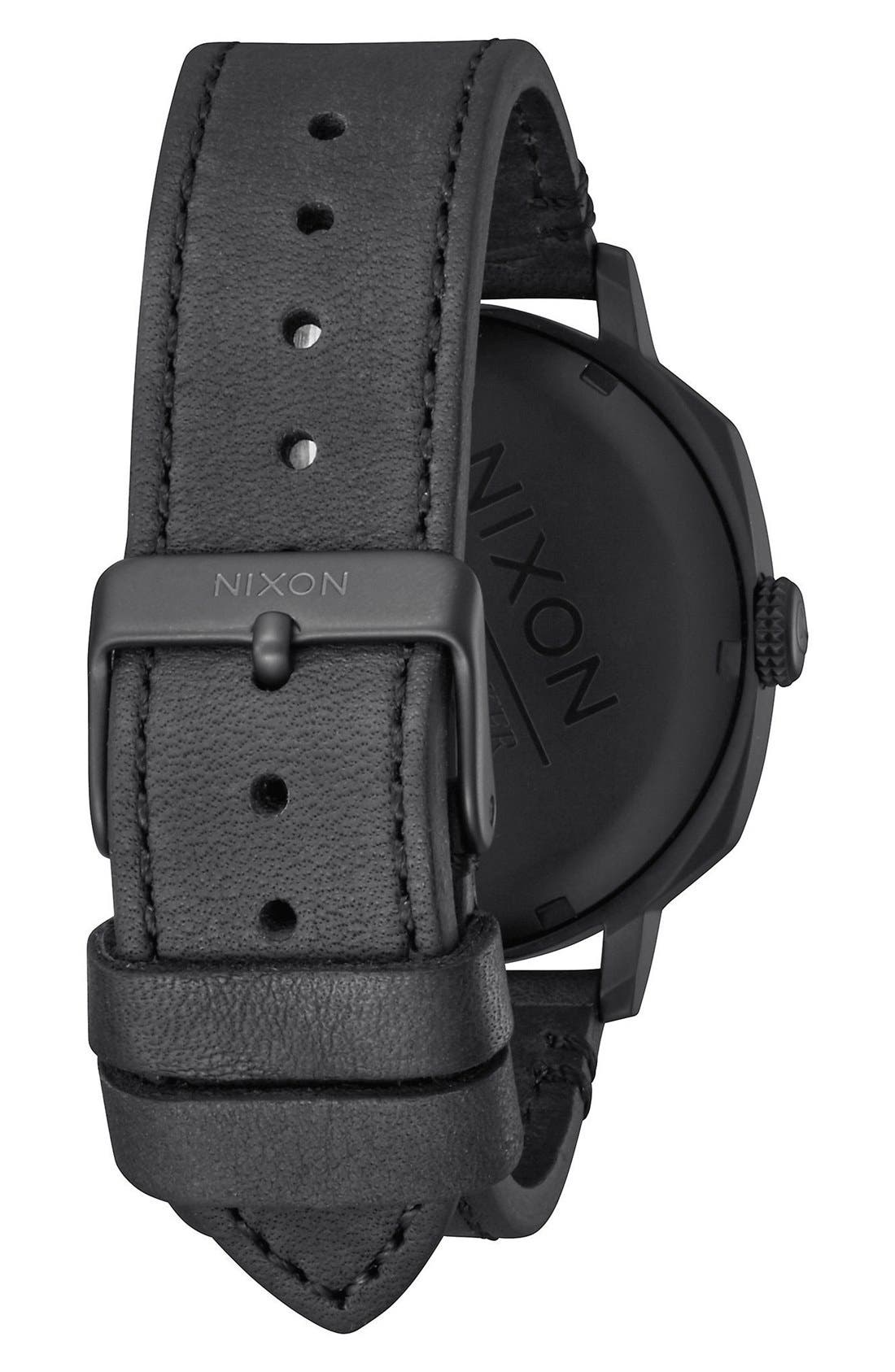 'The Regent' Leather Strap Watch, 42mm,                             Alternate thumbnail 4, color,                             001