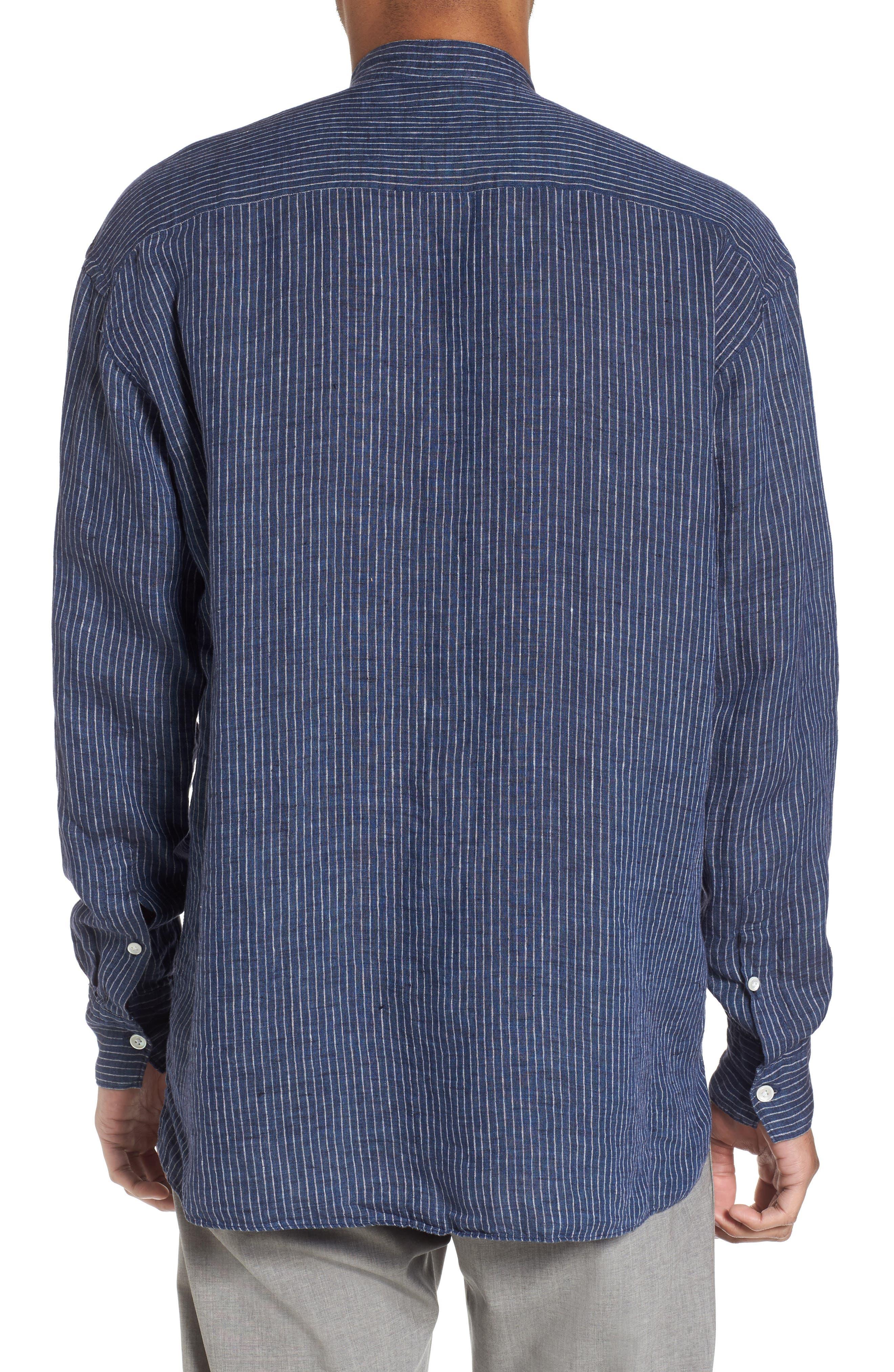 Railroad Stripe Linen Sport Shirt,                             Alternate thumbnail 2, color,                             410