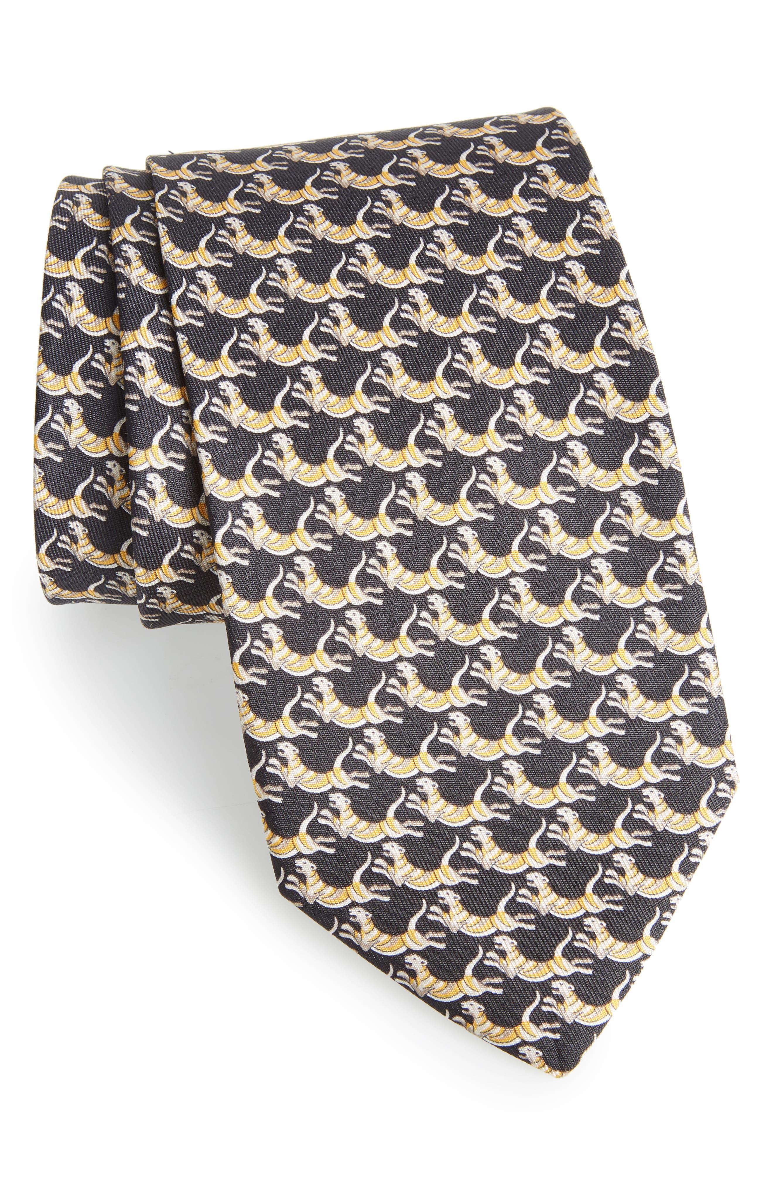 Figre Print Silk Tie,                         Main,                         color, BLACK