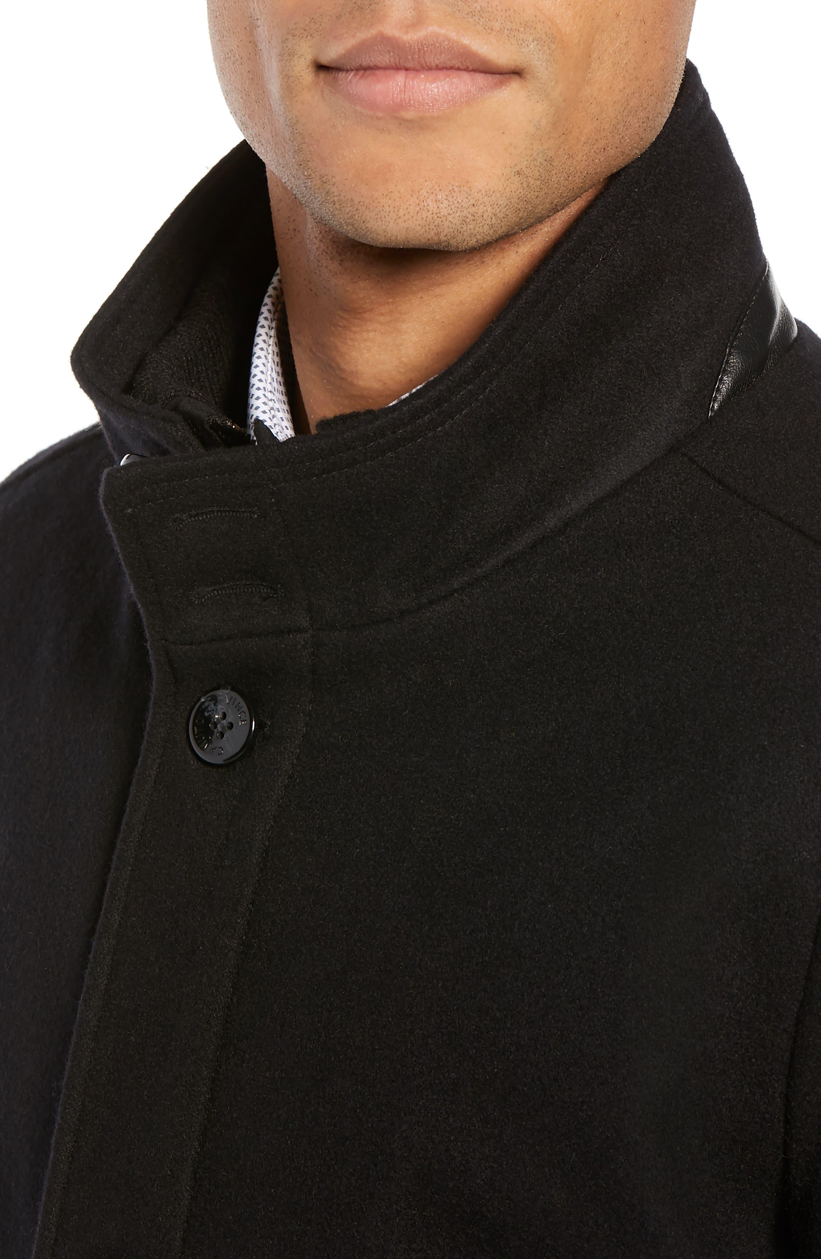 Classic Wool Blend Car Coat with Inset Bib,                             Alternate thumbnail 4, color,                             BLACK