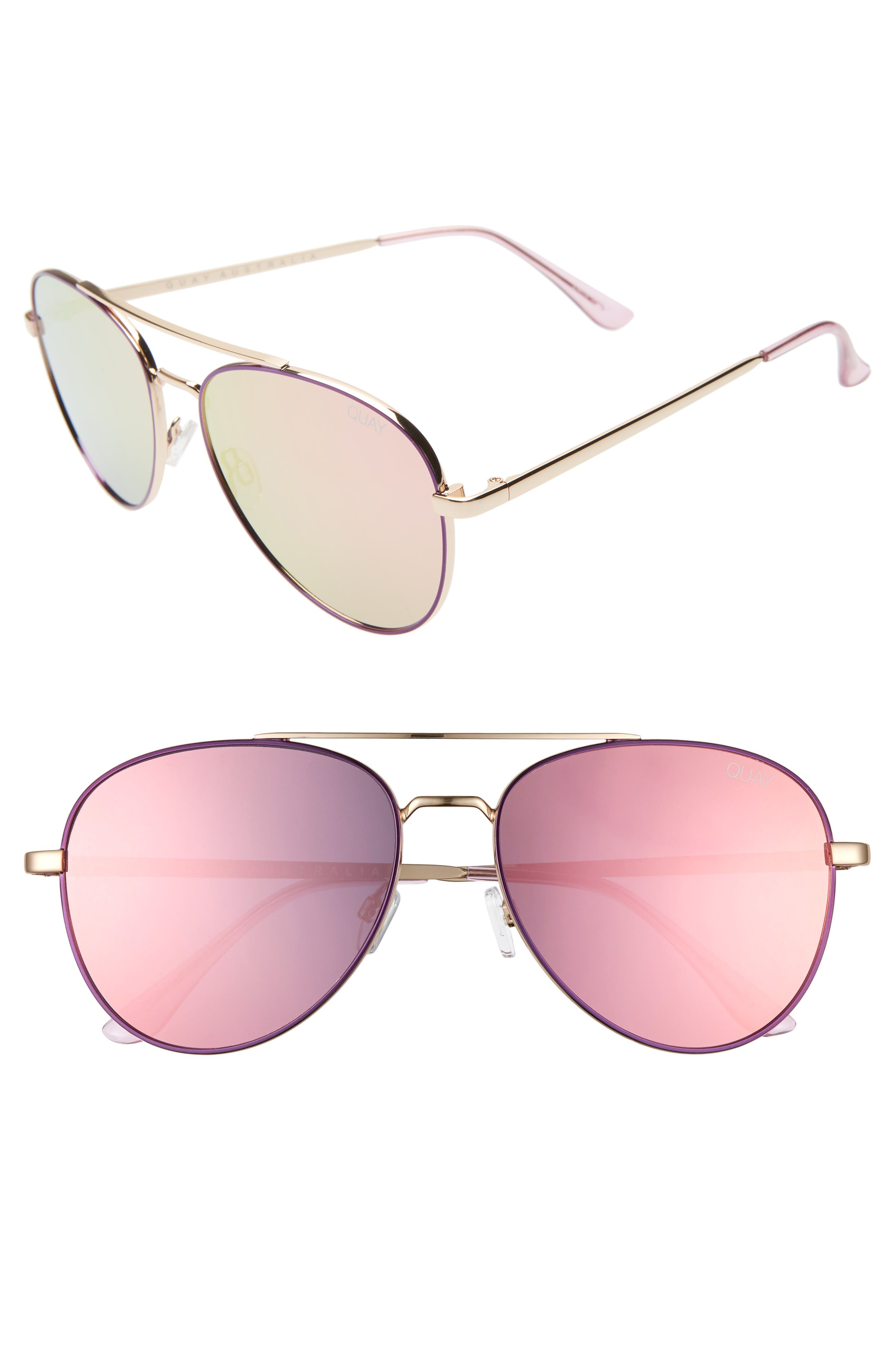 Quay Australia Single 50Mm Aviator Sunglasses - Purple/ Light Pink