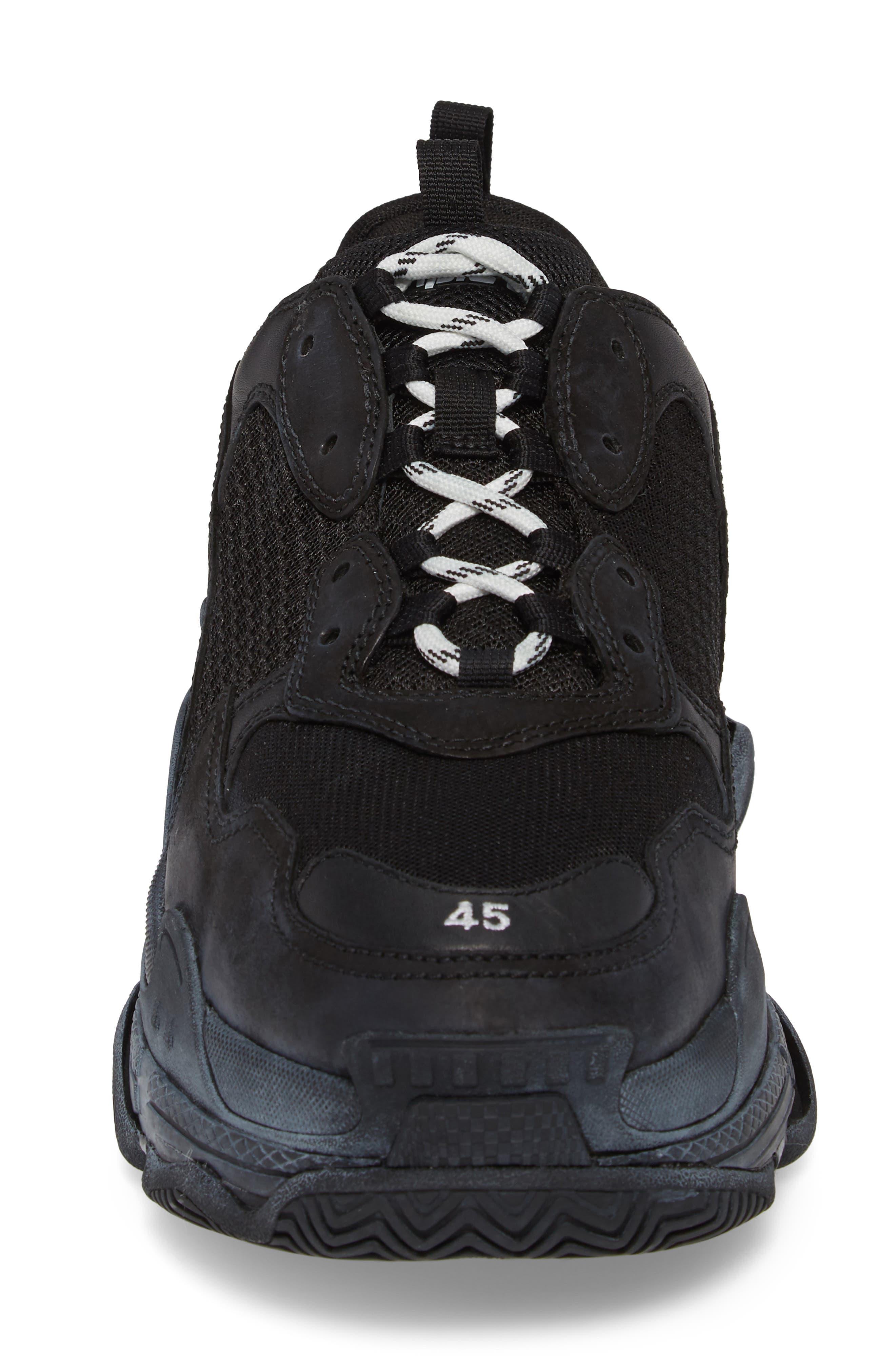 Triple S Retro Sneaker,                             Alternate thumbnail 4, color,                             NOIR