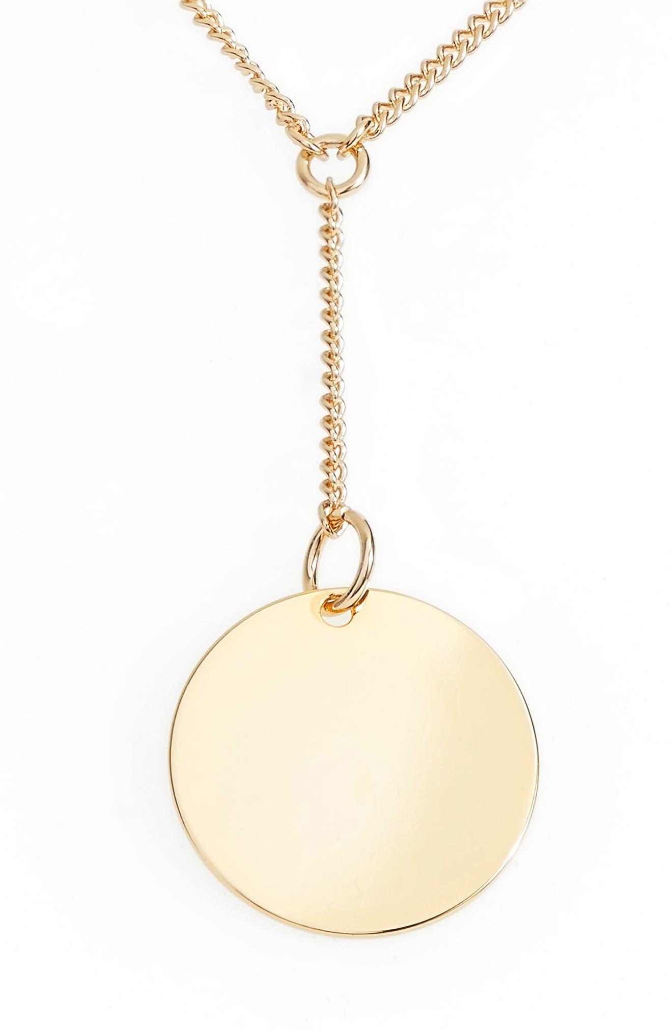 Short Disc Y-Shaped Necklace,                             Main thumbnail 1, color,                             GOLD