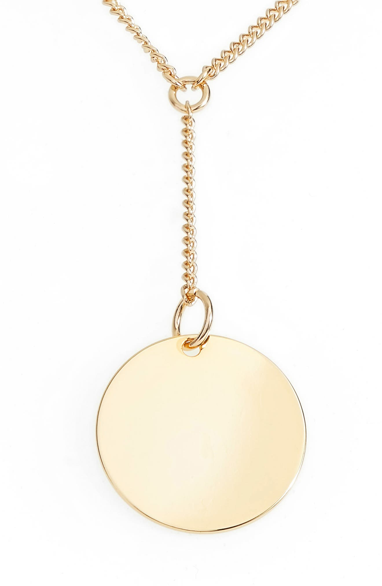 Short Disc Y-Shaped Necklace, Main, color, GOLD