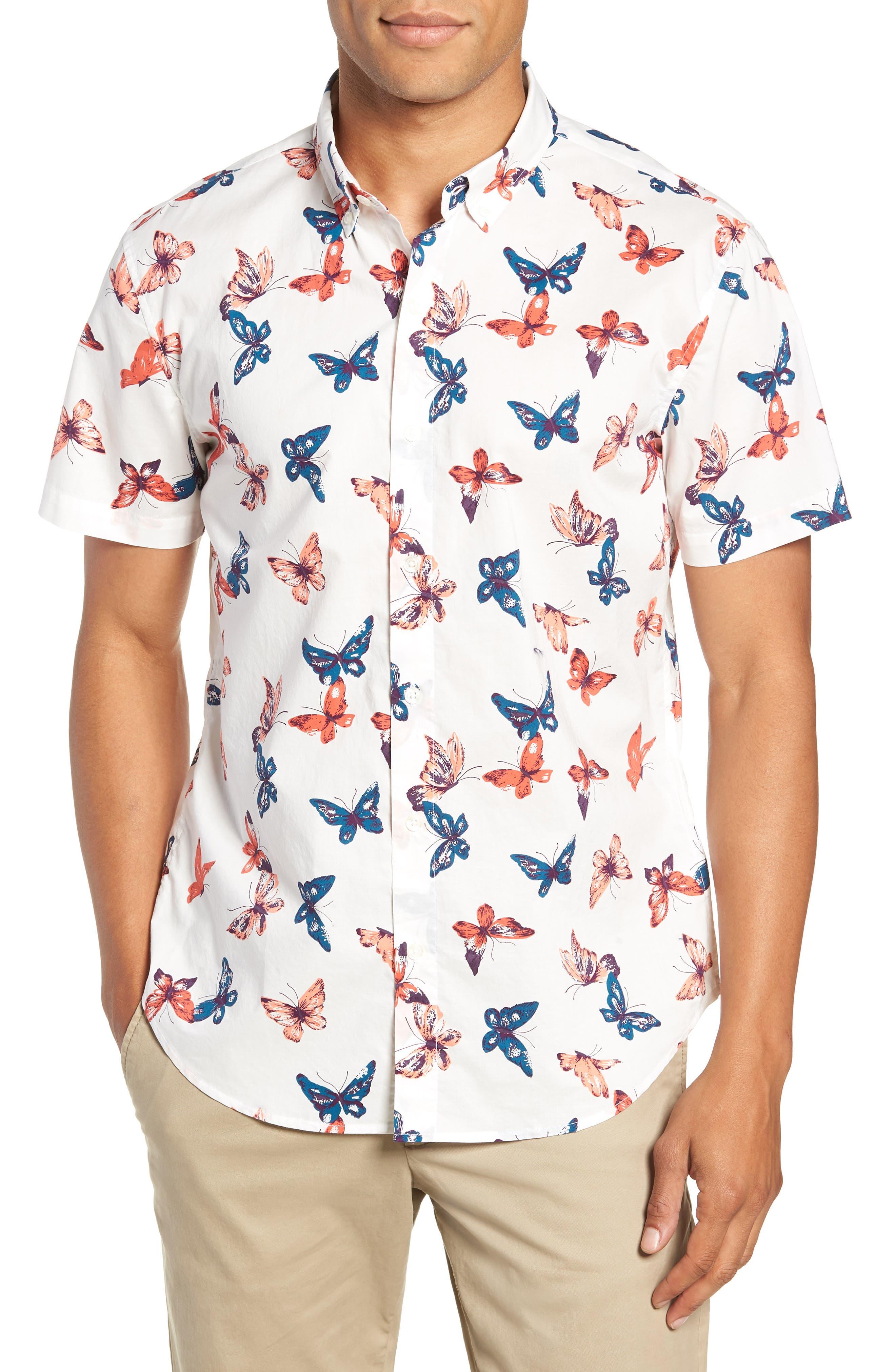 Riviera Butterfly Print Sport Shirt,                             Main thumbnail 1, color,                             BIG BUTTERFLIES