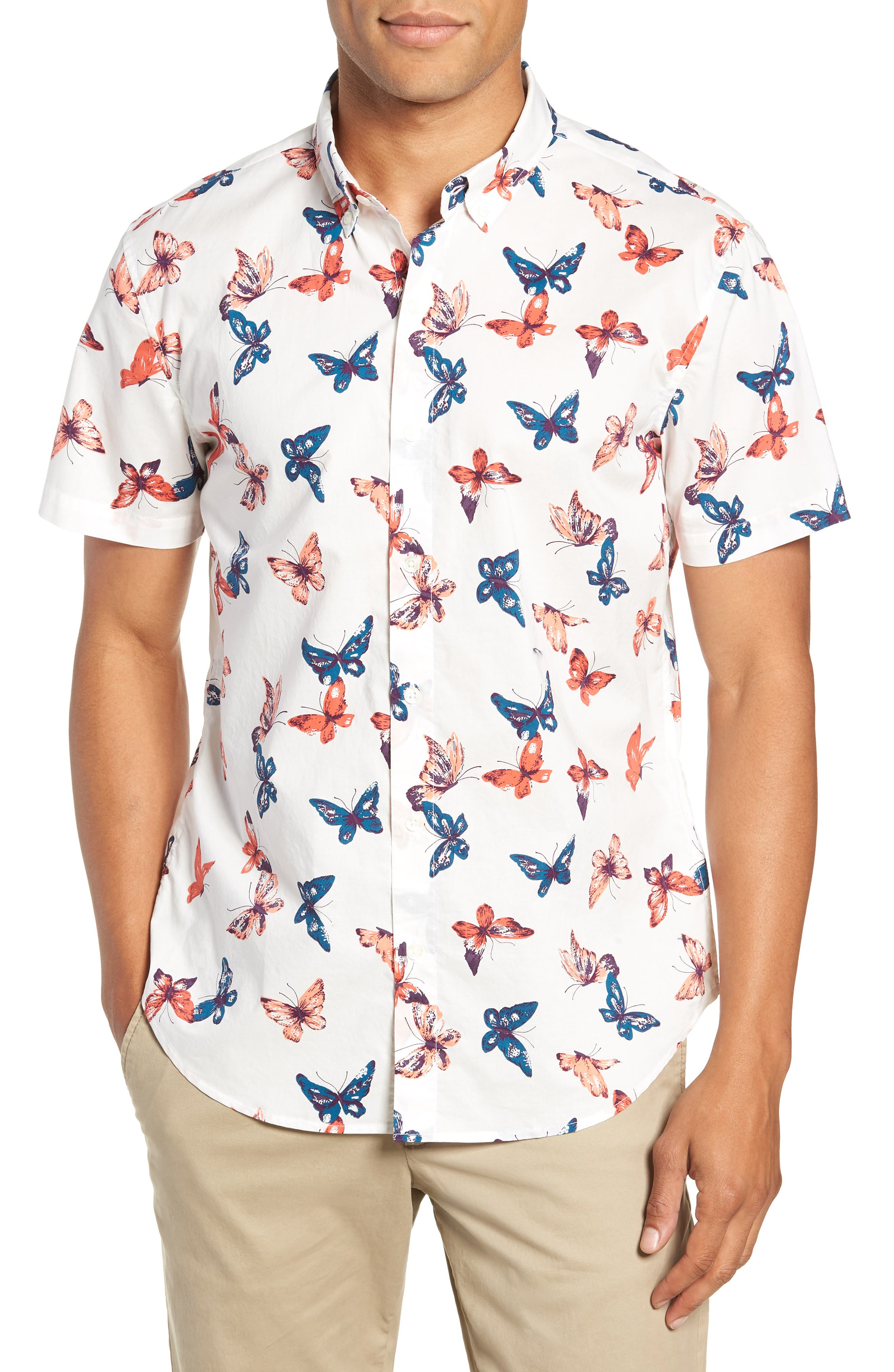 Riviera Butterfly Print Sport Shirt,                         Main,                         color, 100