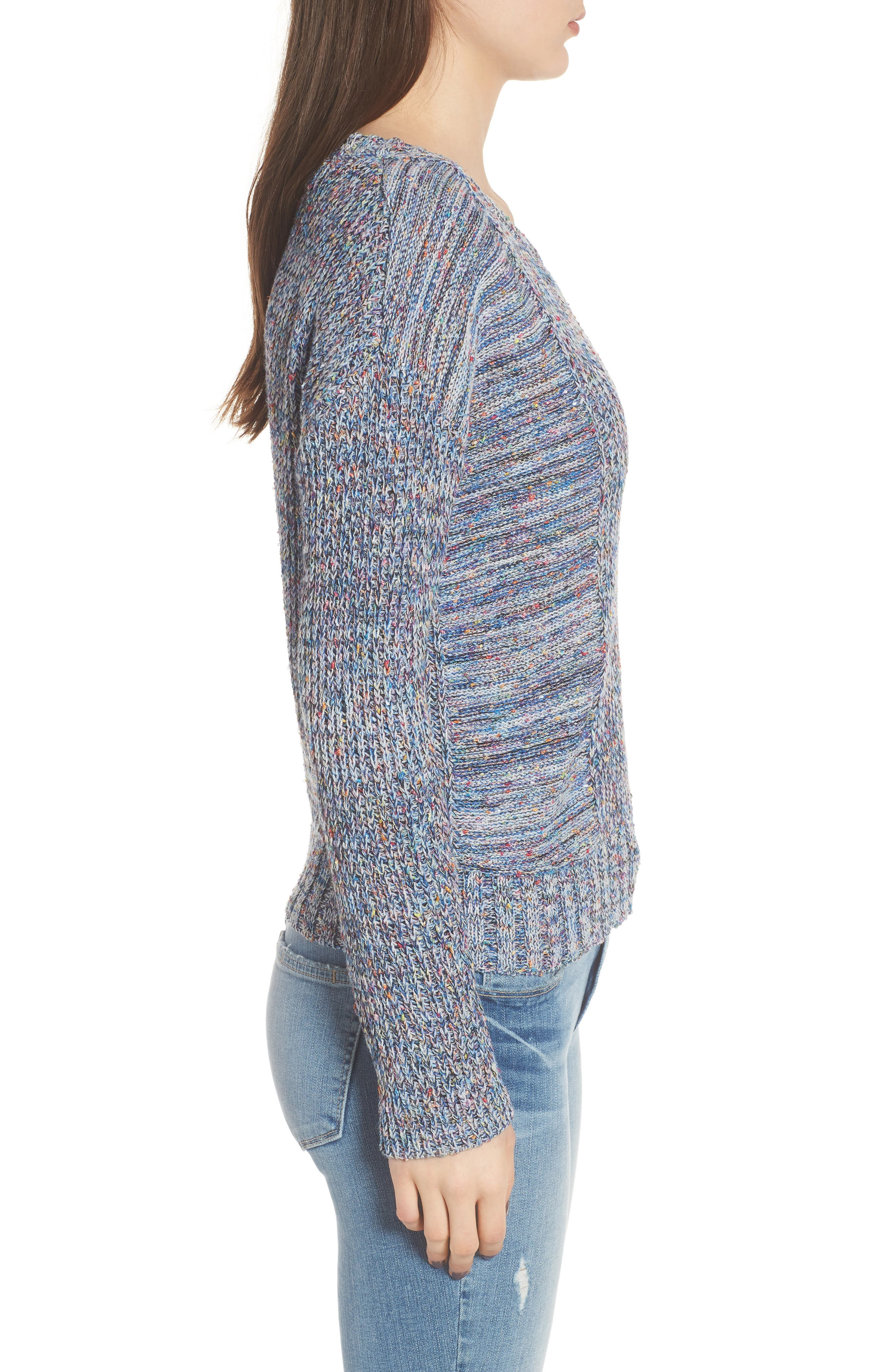 Elsa Sweater,                             Alternate thumbnail 3, color,                             SPECKLED BLUE