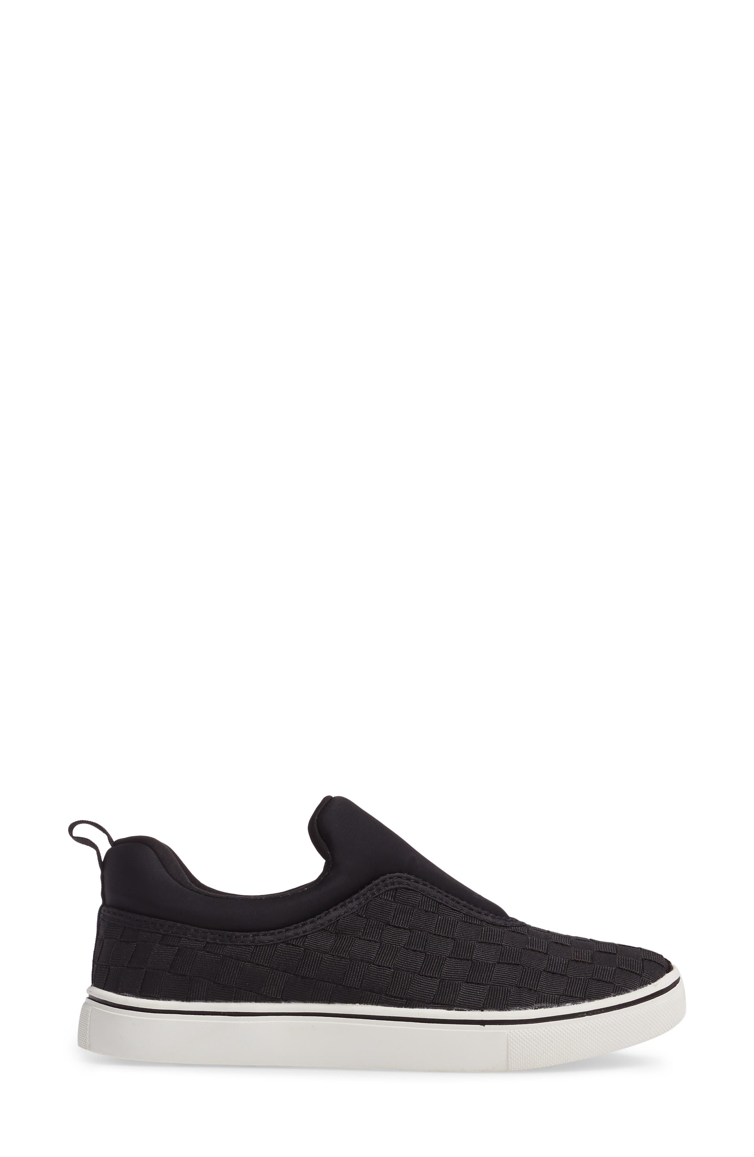 Bernie Mev Joan Slip-On Sneaker,                             Alternate thumbnail 3, color,                             BLACK/ BLACK FABRIC