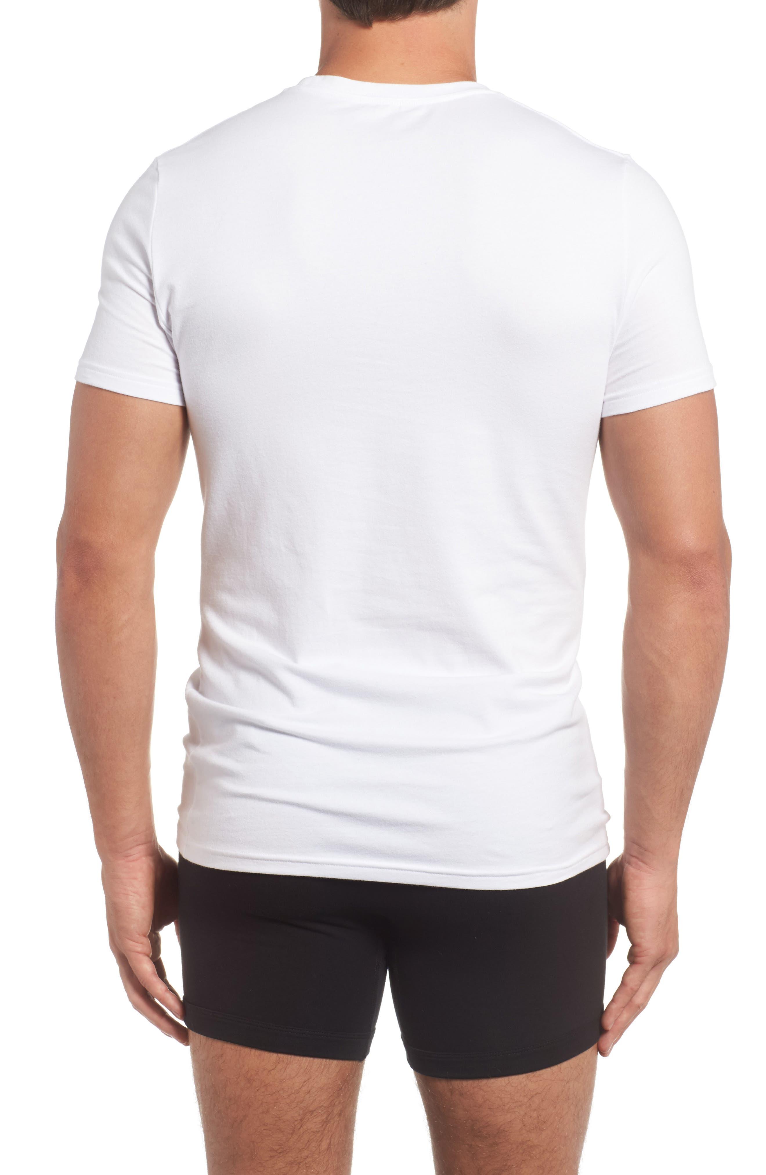 Trim Fit 3-Pack Stretch Cotton Crewneck T-Shirt,                             Alternate thumbnail 3, color,                             WHITE