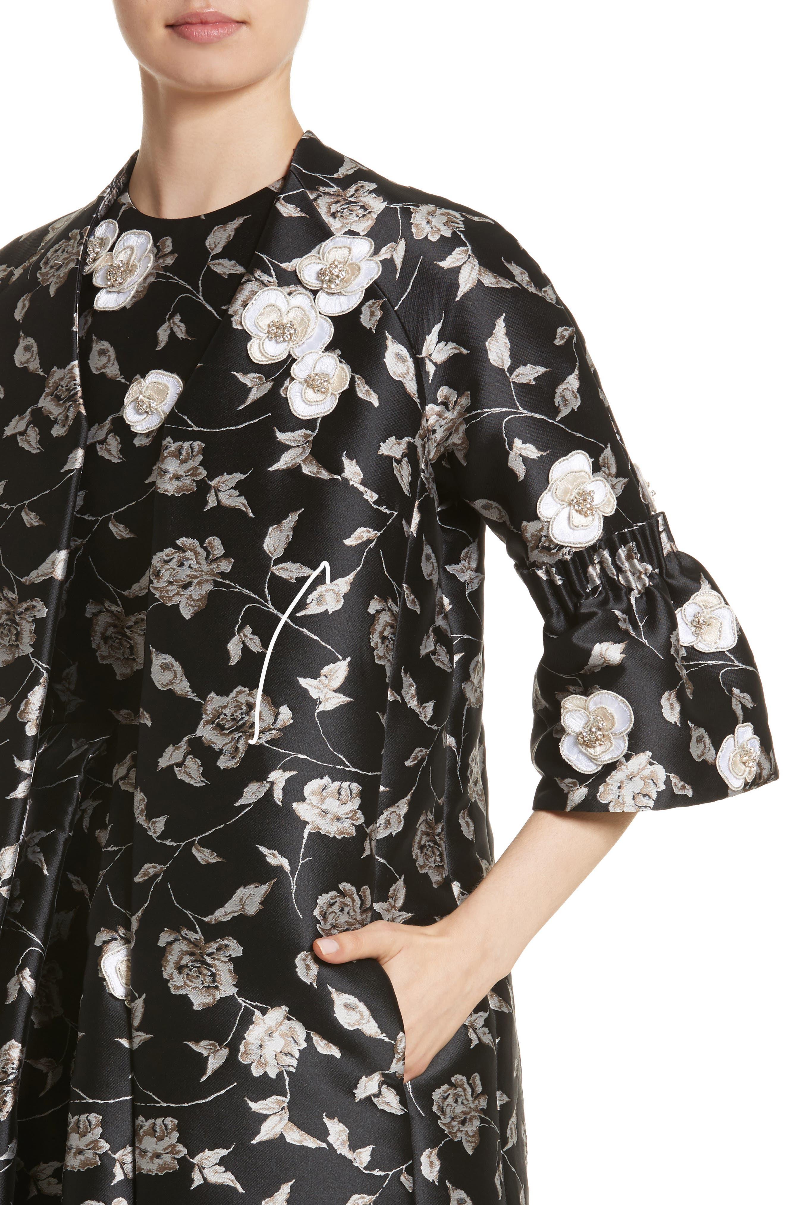 Carmen Marc Valvo Floral Jacquard Jacket,                             Alternate thumbnail 4, color,                             001