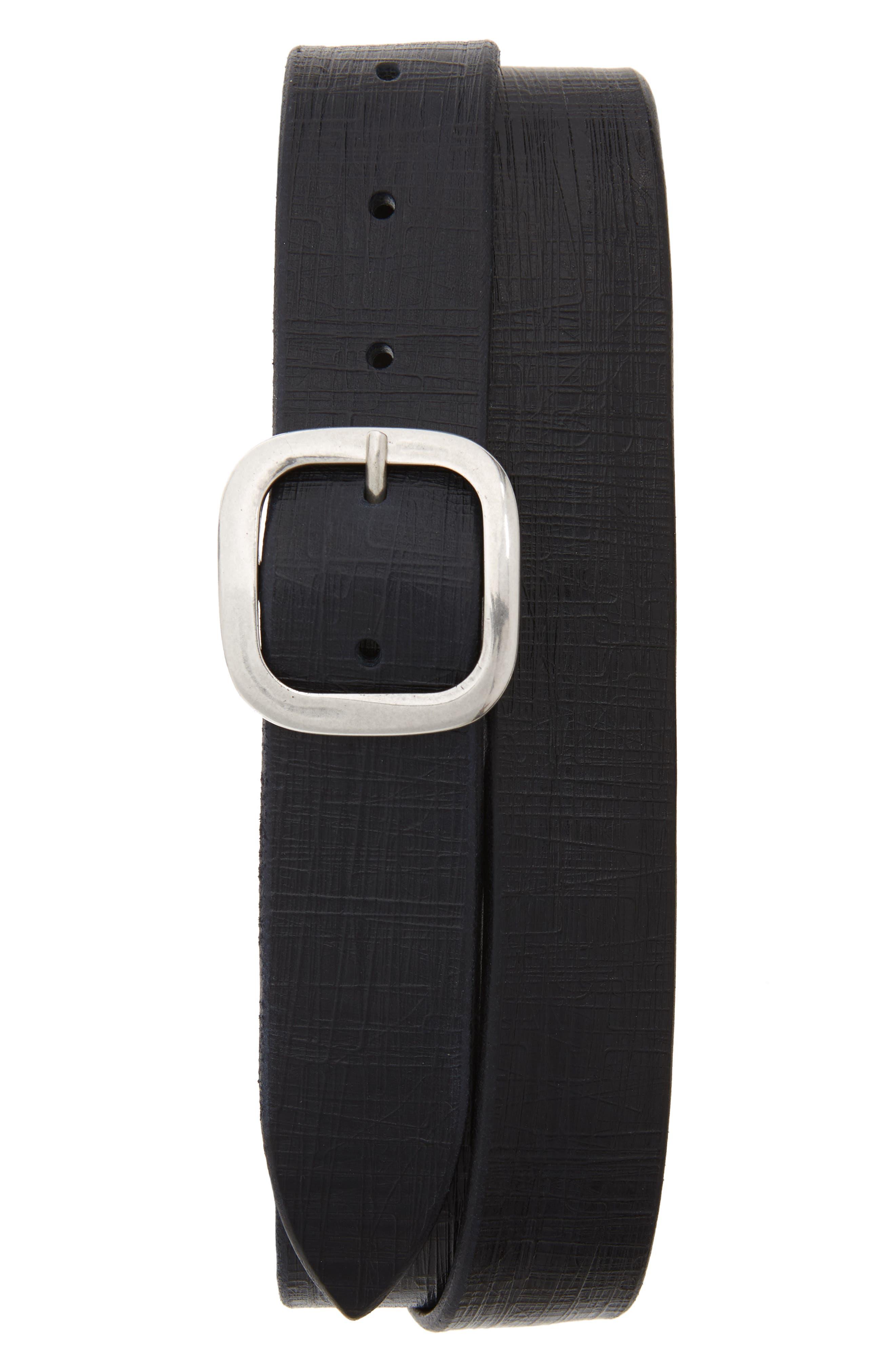Bull Flame Leather Belt,                             Main thumbnail 1, color,                             BLUE