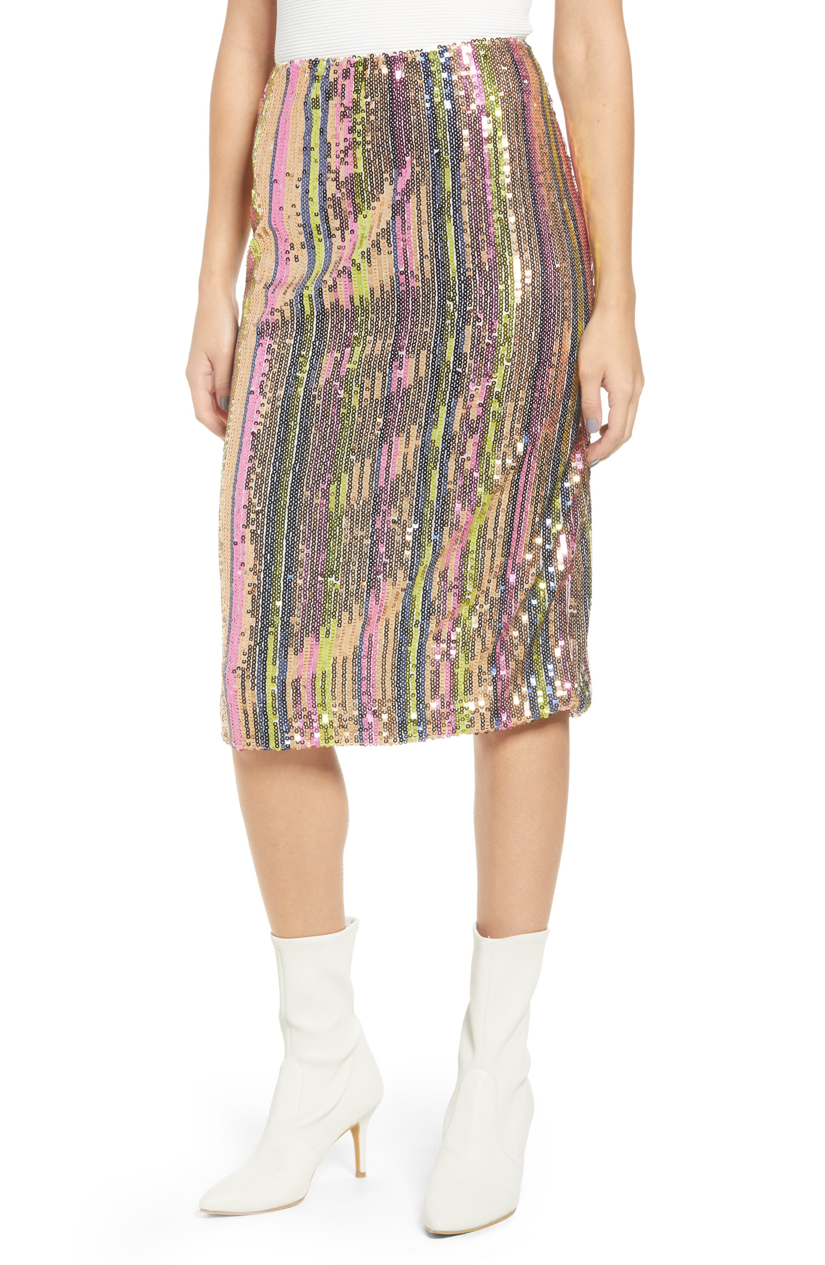 Rainbow Sequin Midi Skirt,                             Main thumbnail 1, color,                             PURPLE MAGENTA MULTI