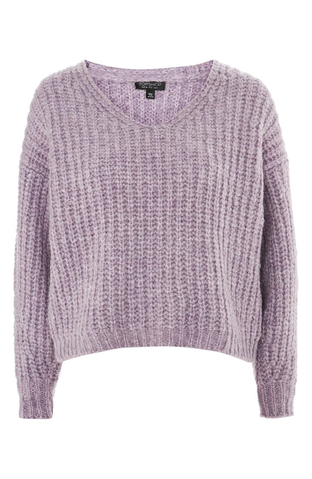 Oversized V-Neck Sweater,                             Alternate thumbnail 4, color,                             530