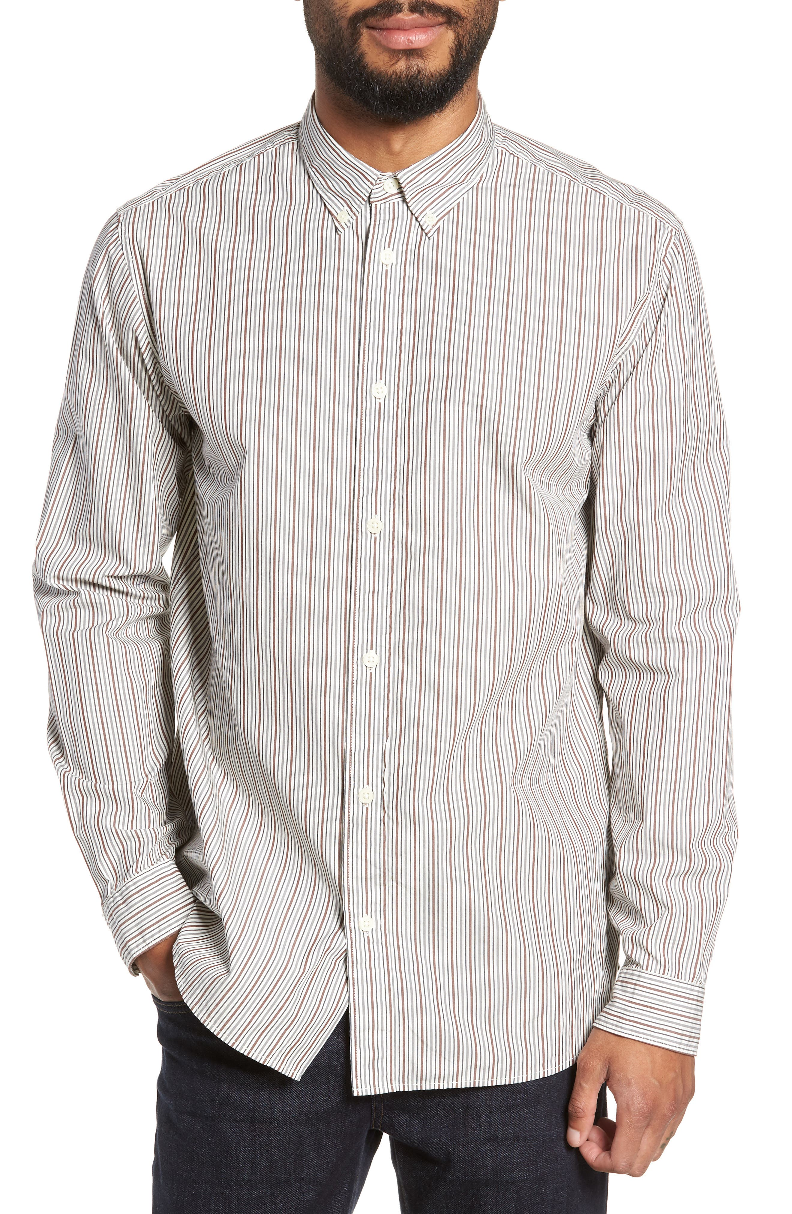 Carlo Regular Fit Stripe Sport Shirt,                         Main,                         color, QUIET SHADE STRIPES
