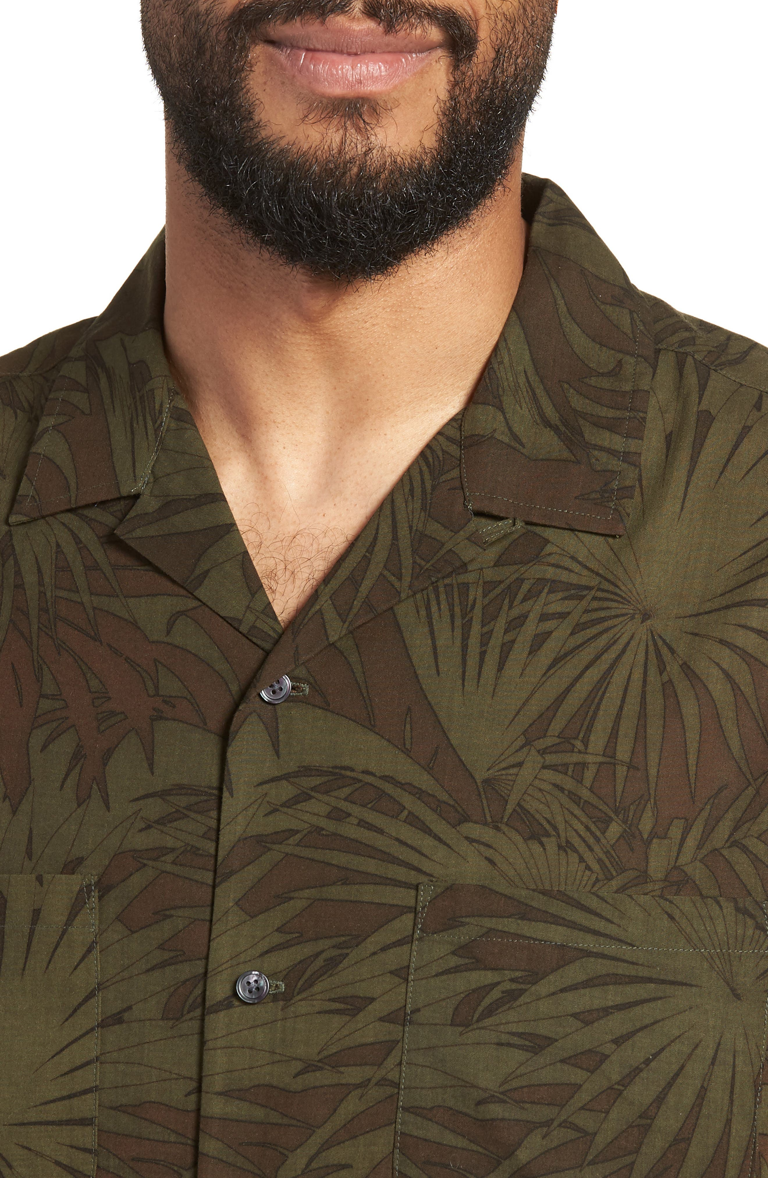 Palm Leaf Cabana Woven Shirt,                             Alternate thumbnail 4, color,                             FOLIAGE/ DRIED HERB