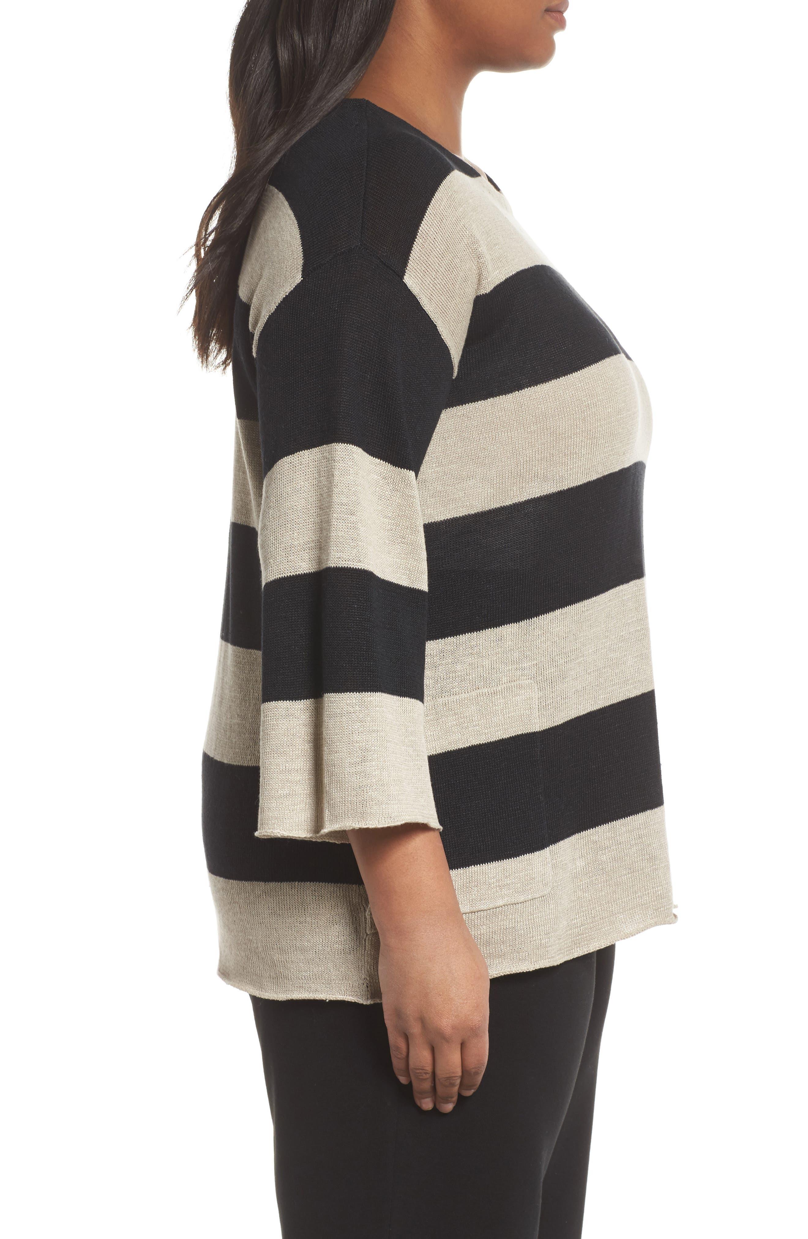 Stripe Linen Sweater,                             Alternate thumbnail 3, color,                             008