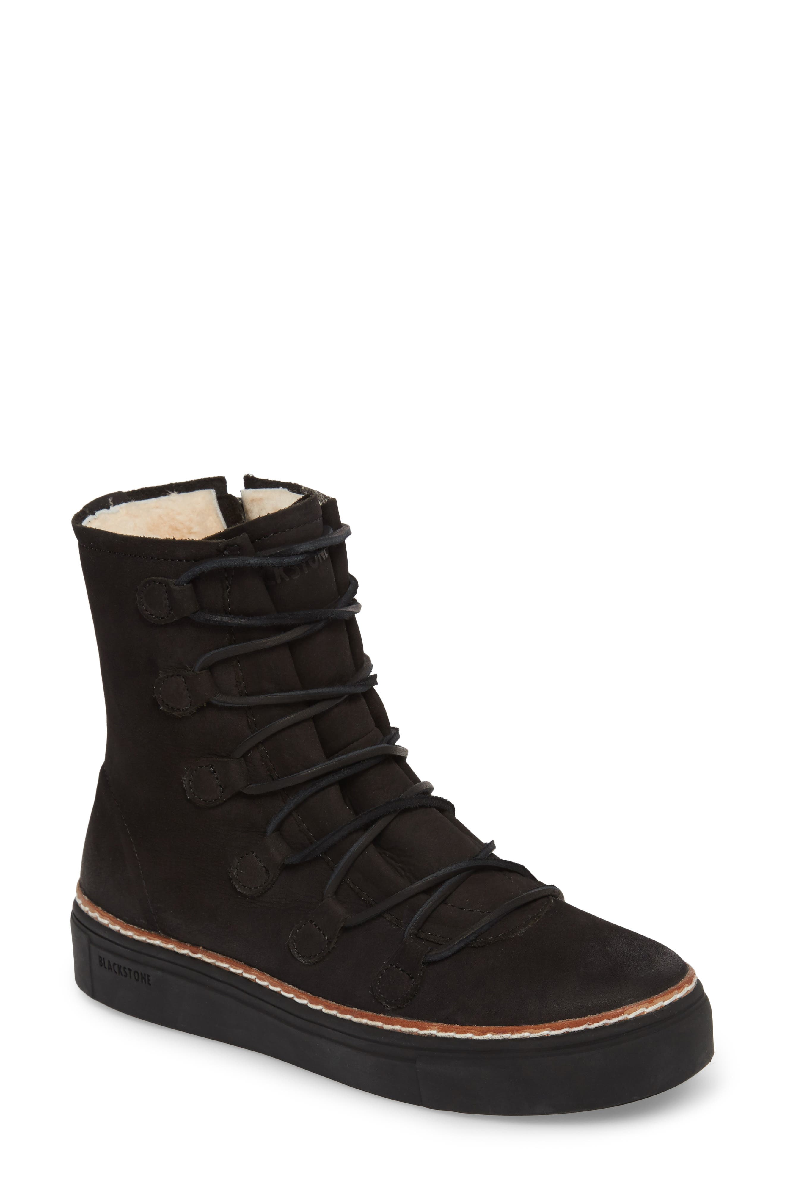 BLACKSTONE,                             OL26 Genuine Shearling Lined Lace-Up Bootie,                             Main thumbnail 1, color,                             BLACK NUBUCK LEATHER
