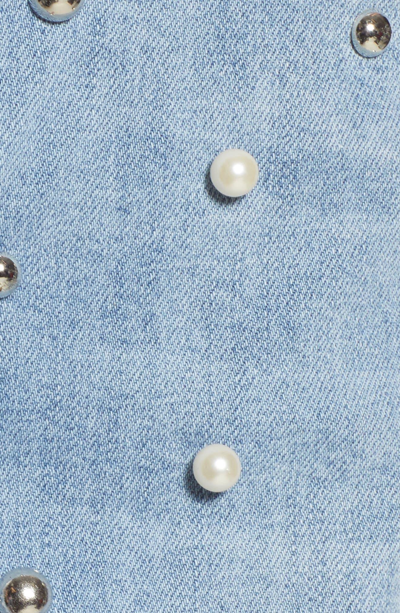 Imitation Pearl & Stud Ripped Denim Bermuda Shorts,                             Alternate thumbnail 6, color,                             400