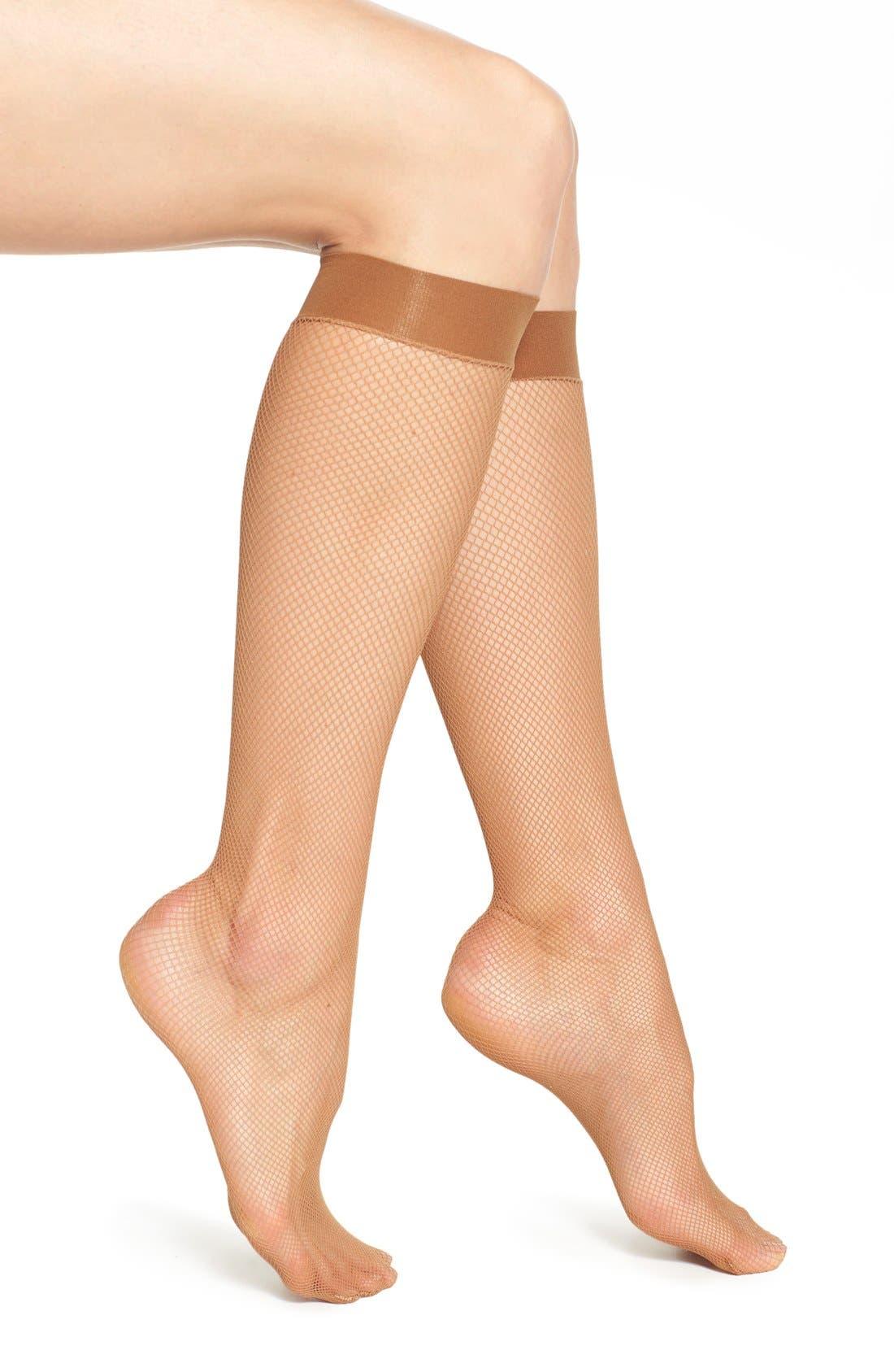 'Twenties' Fishnet Knee High Socks,                             Main thumbnail 1, color,                             243