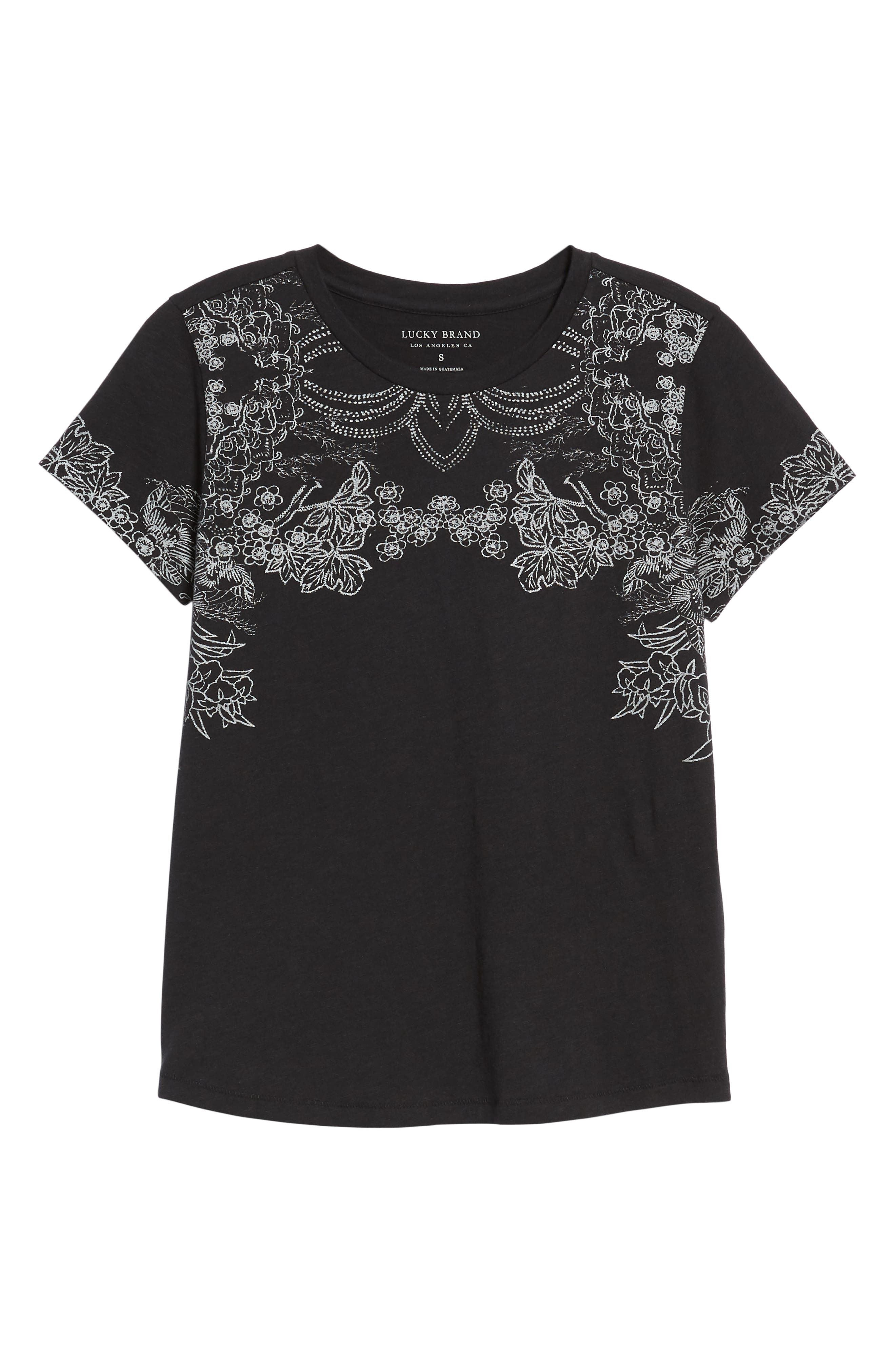 LUCKY BRAND,                             Embroidered Tee,                             Alternate thumbnail 6, color,                             001