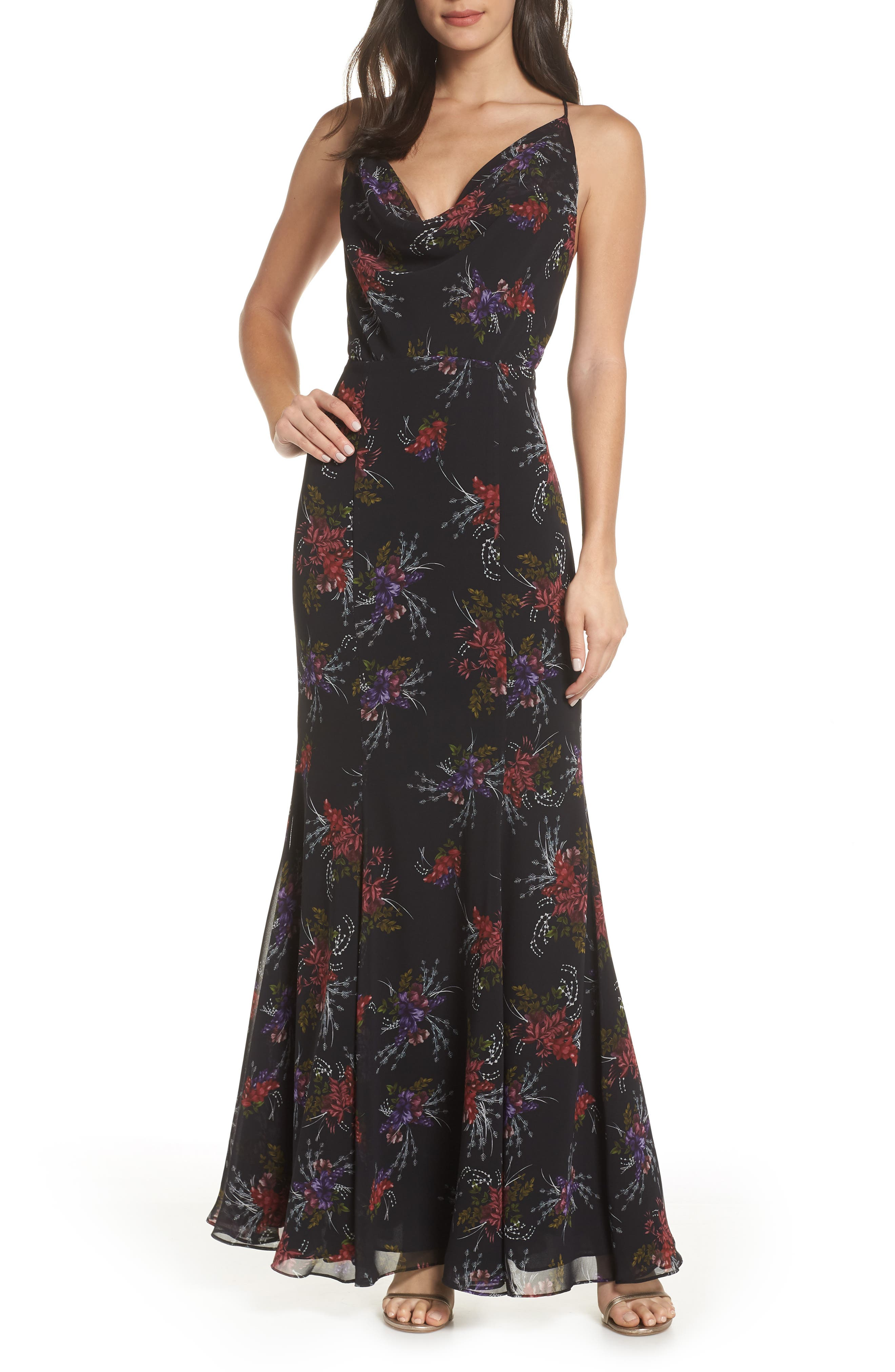 Fame And Partners The Theodora Floral Print Gown, Black