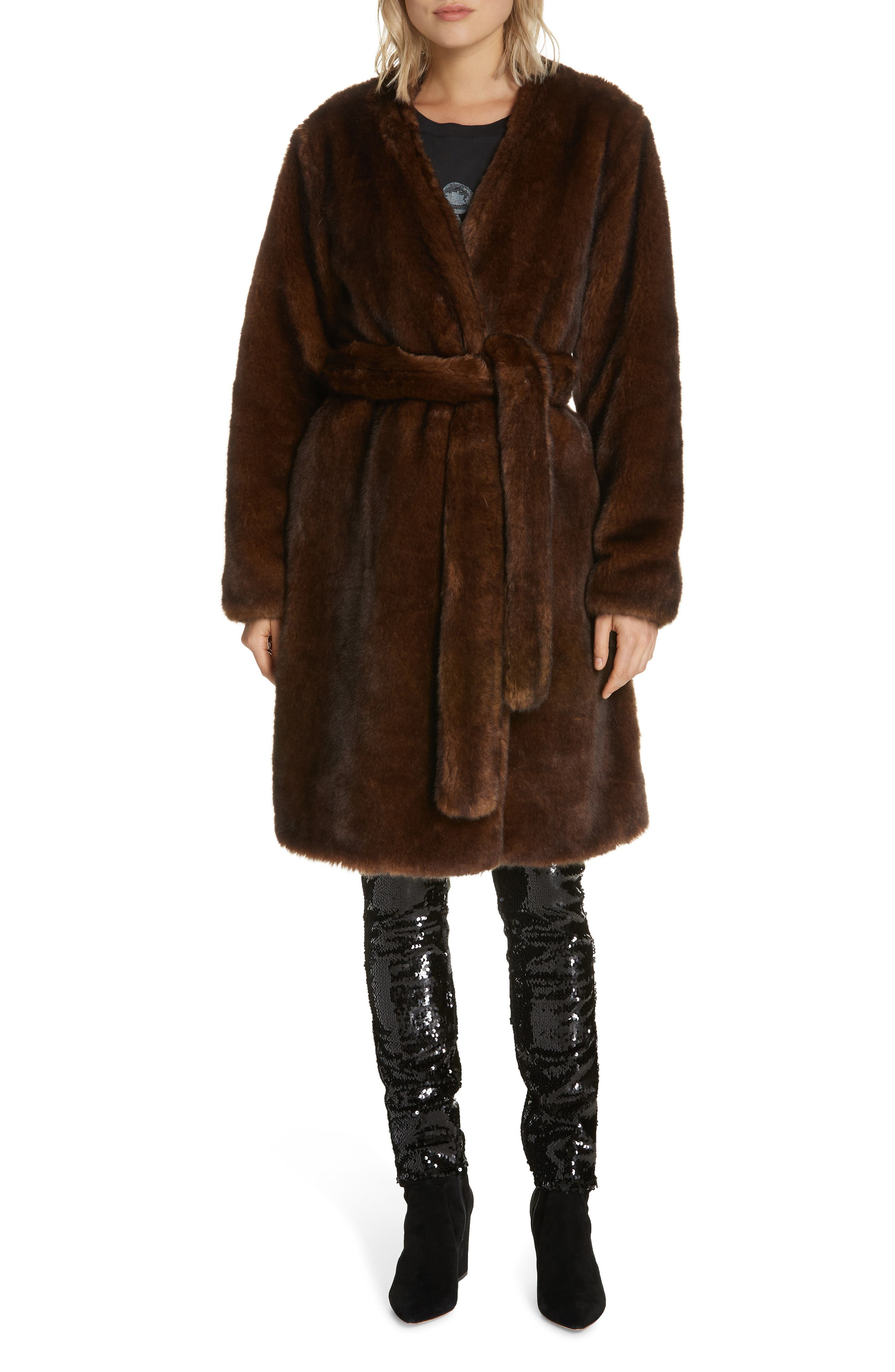 FRAME,                             Faux Mink Fur Robe Coat,                             Alternate thumbnail 8, color,                             201