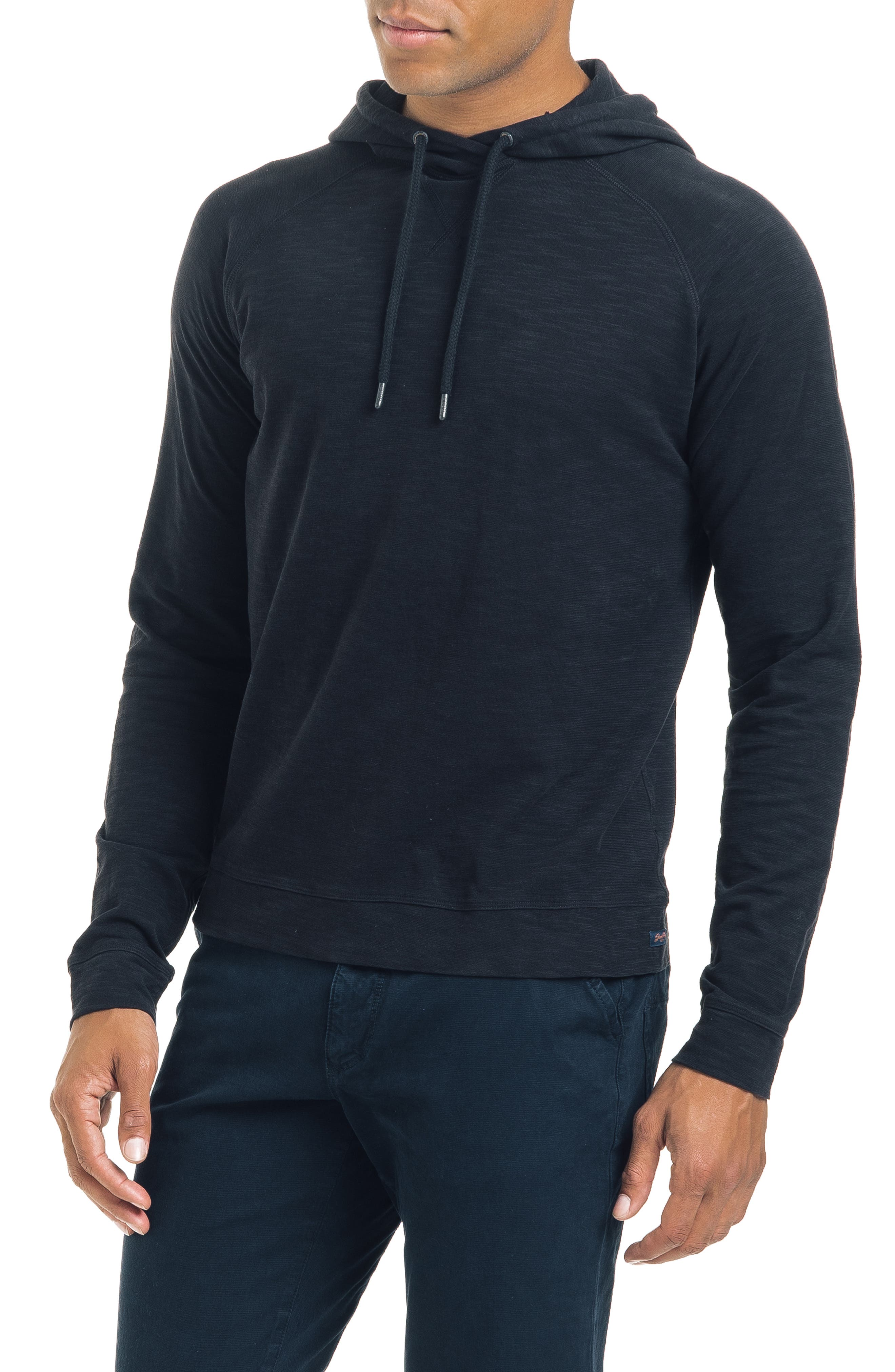 Long Sleeve Slim Fit Slub Hoodie,                         Main,                         color, BLACK