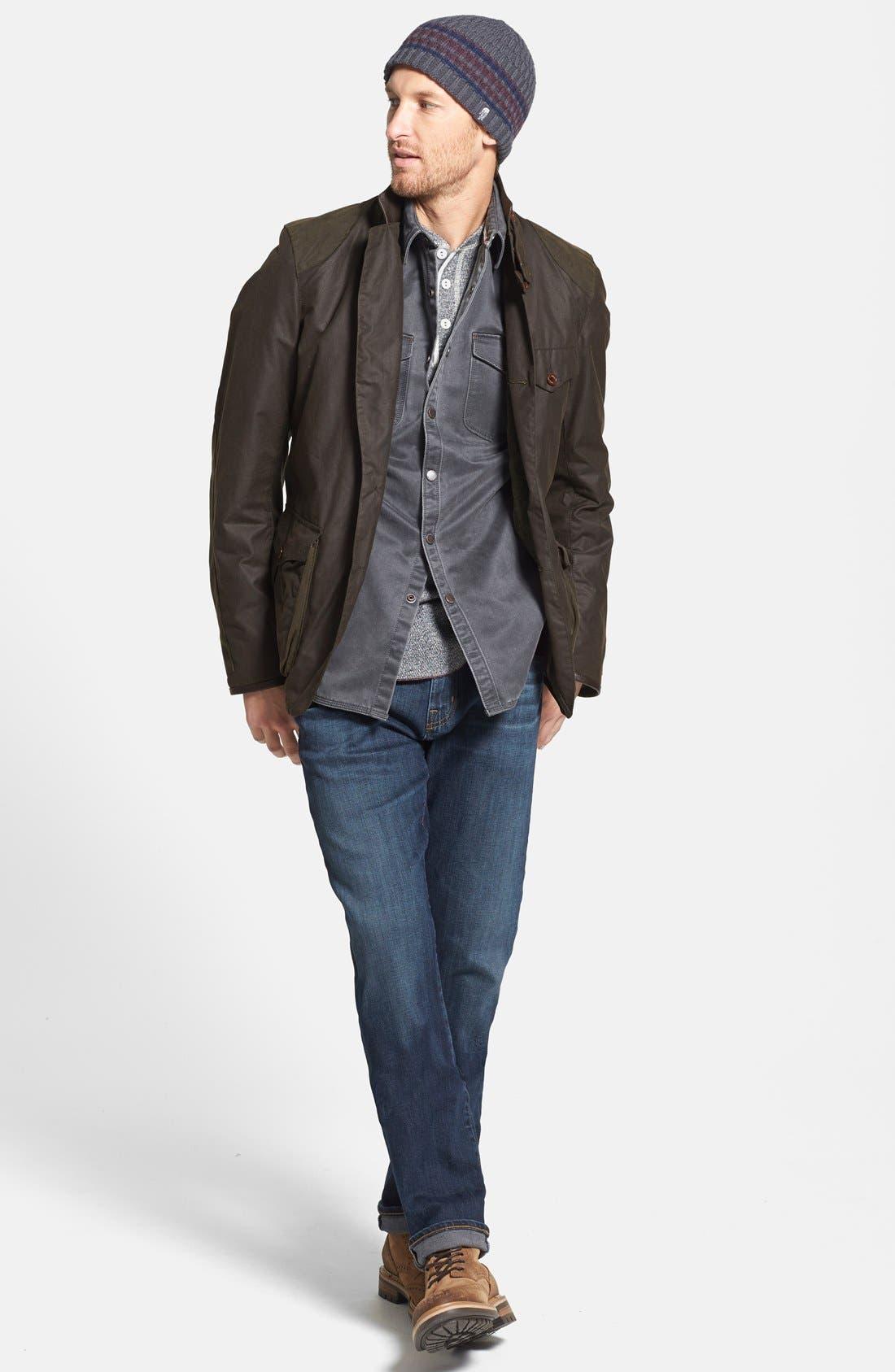 'Beacon' Slim Fit Waxed Cotton Sport Jacket,                             Alternate thumbnail 5, color,                             340