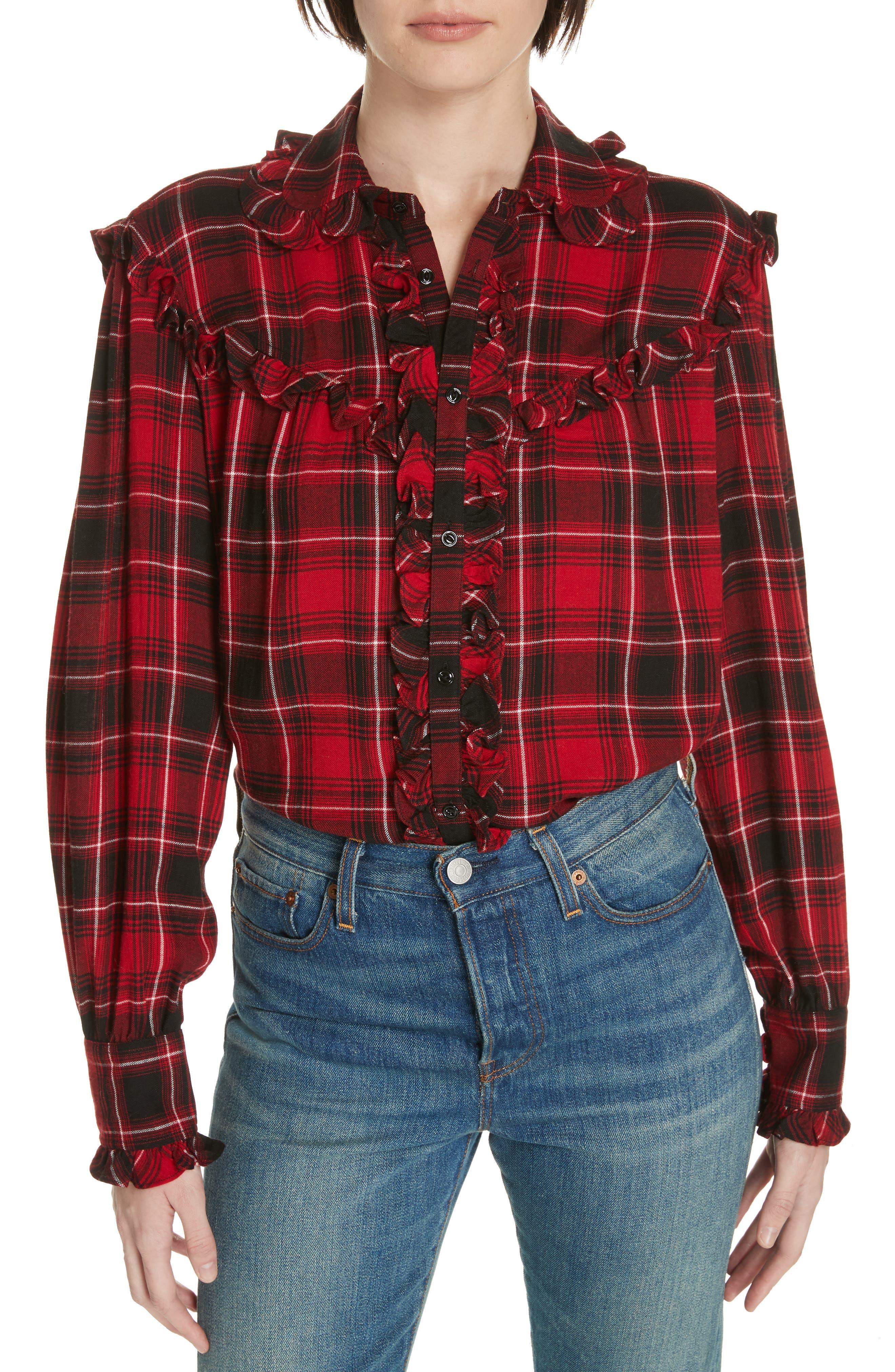 Ruffle Plaid Shirt,                         Main,                         color, RED/ BLACK