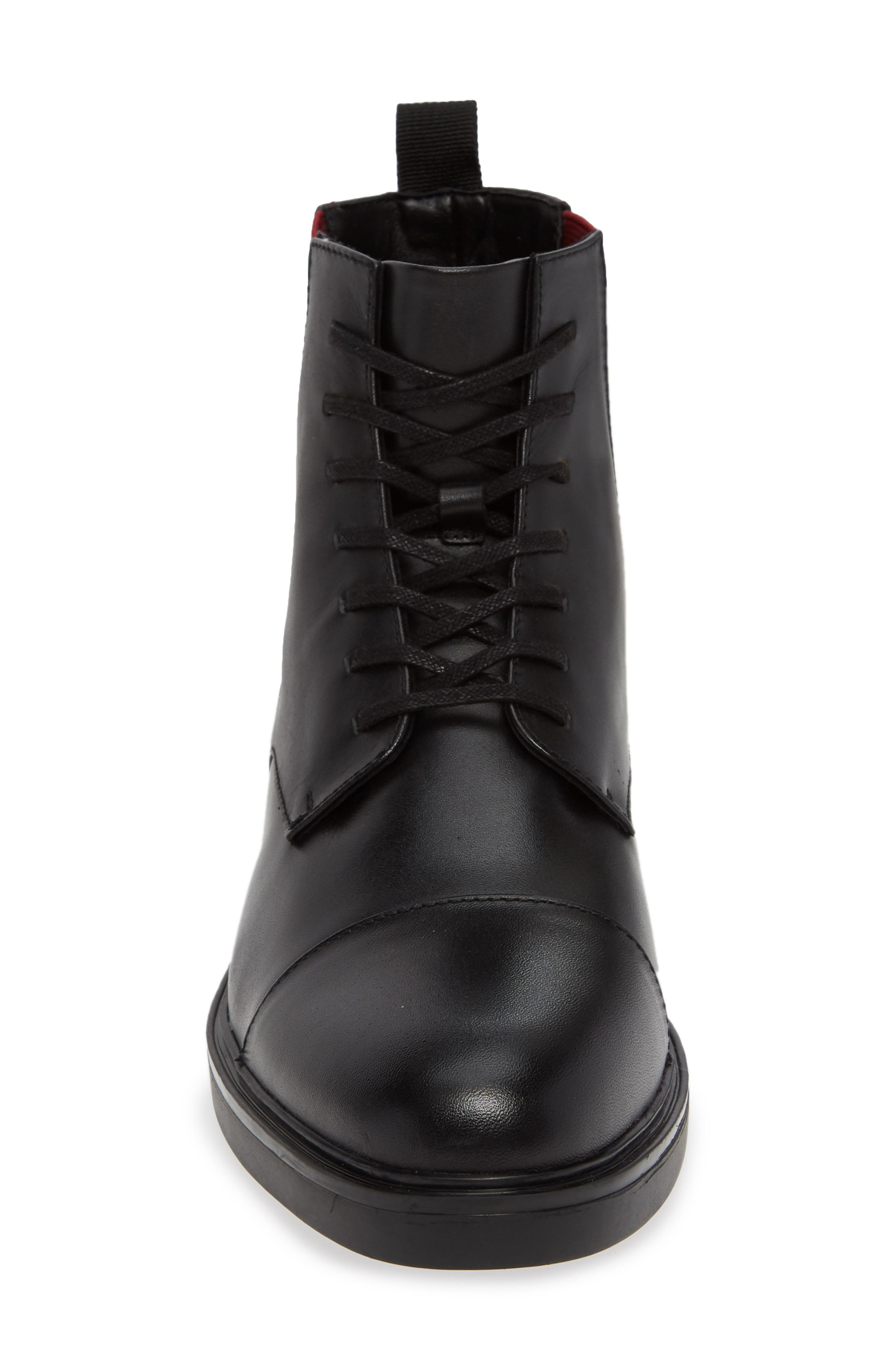 Dameon Lace-Up Boot,                             Alternate thumbnail 4, color,                             BLACK/ RED ROCK LEATHER