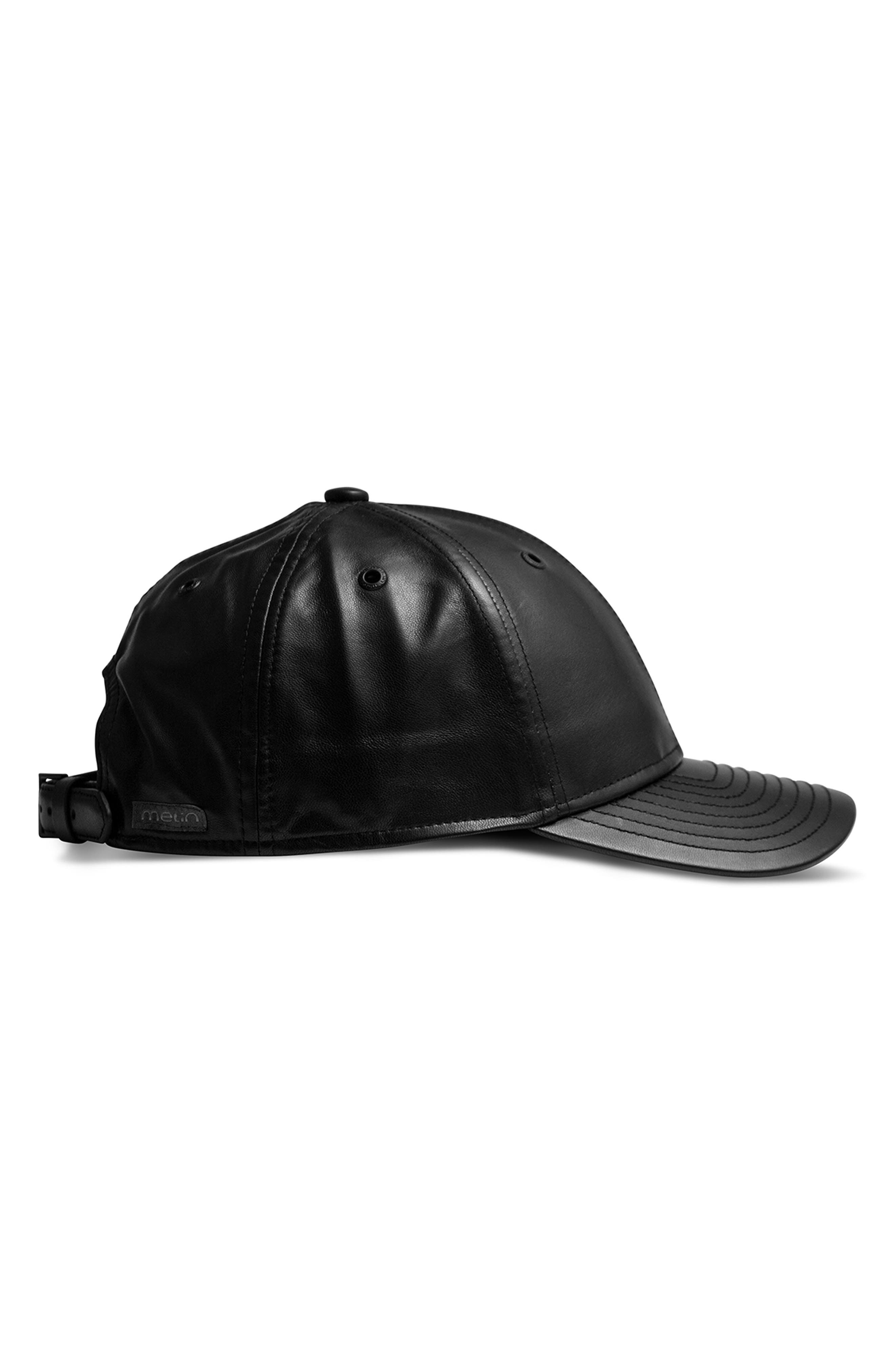 Voyage Elite Leather Ball Cap,                             Alternate thumbnail 7, color,                             BLACK
