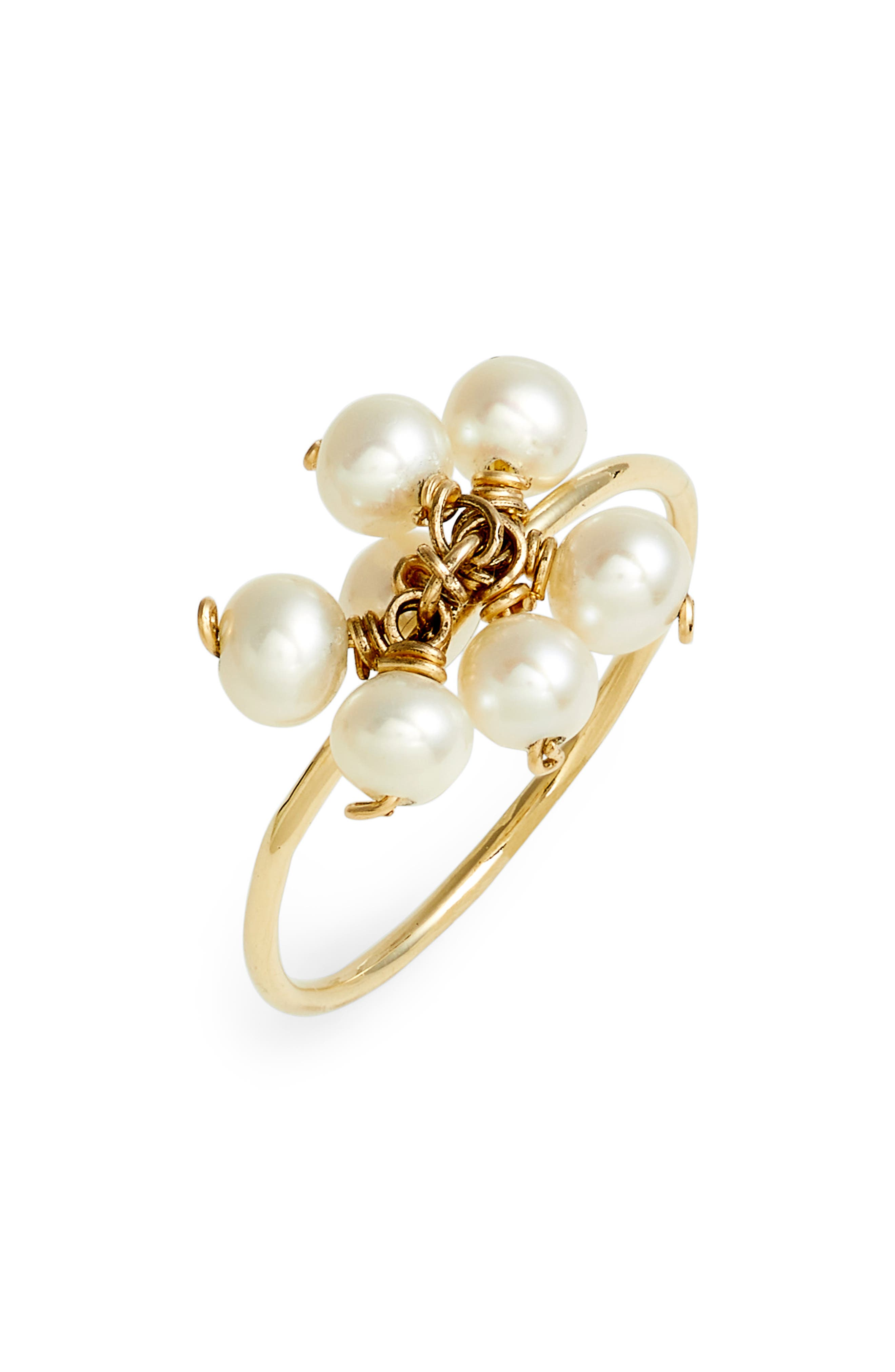 Baby Pearl Cluster Ring,                         Main,                         color, YELLOW GOLD/ WHITE PEARL